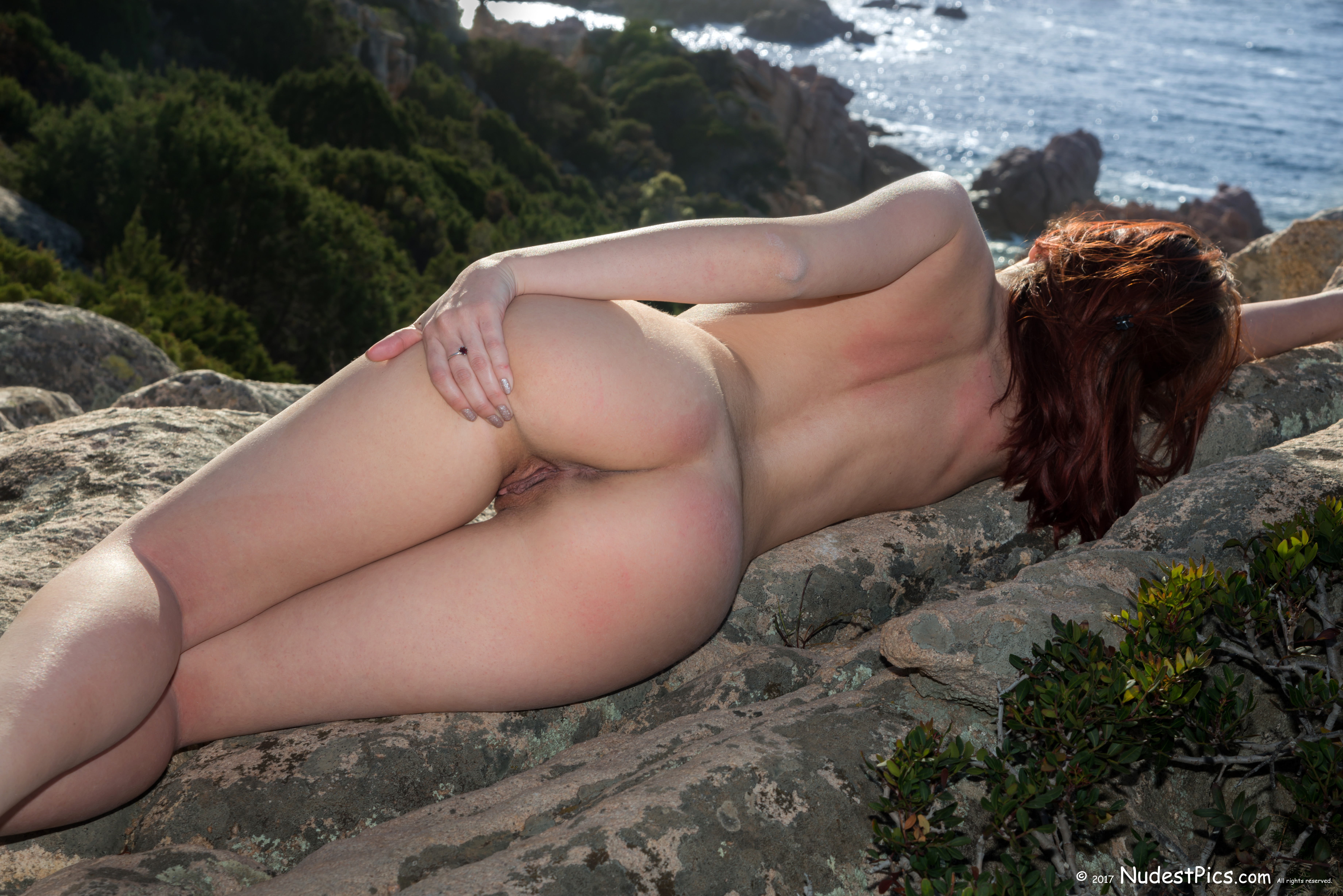 Naughty Nudist Spreading Ass Sunbathing on Rocks HD