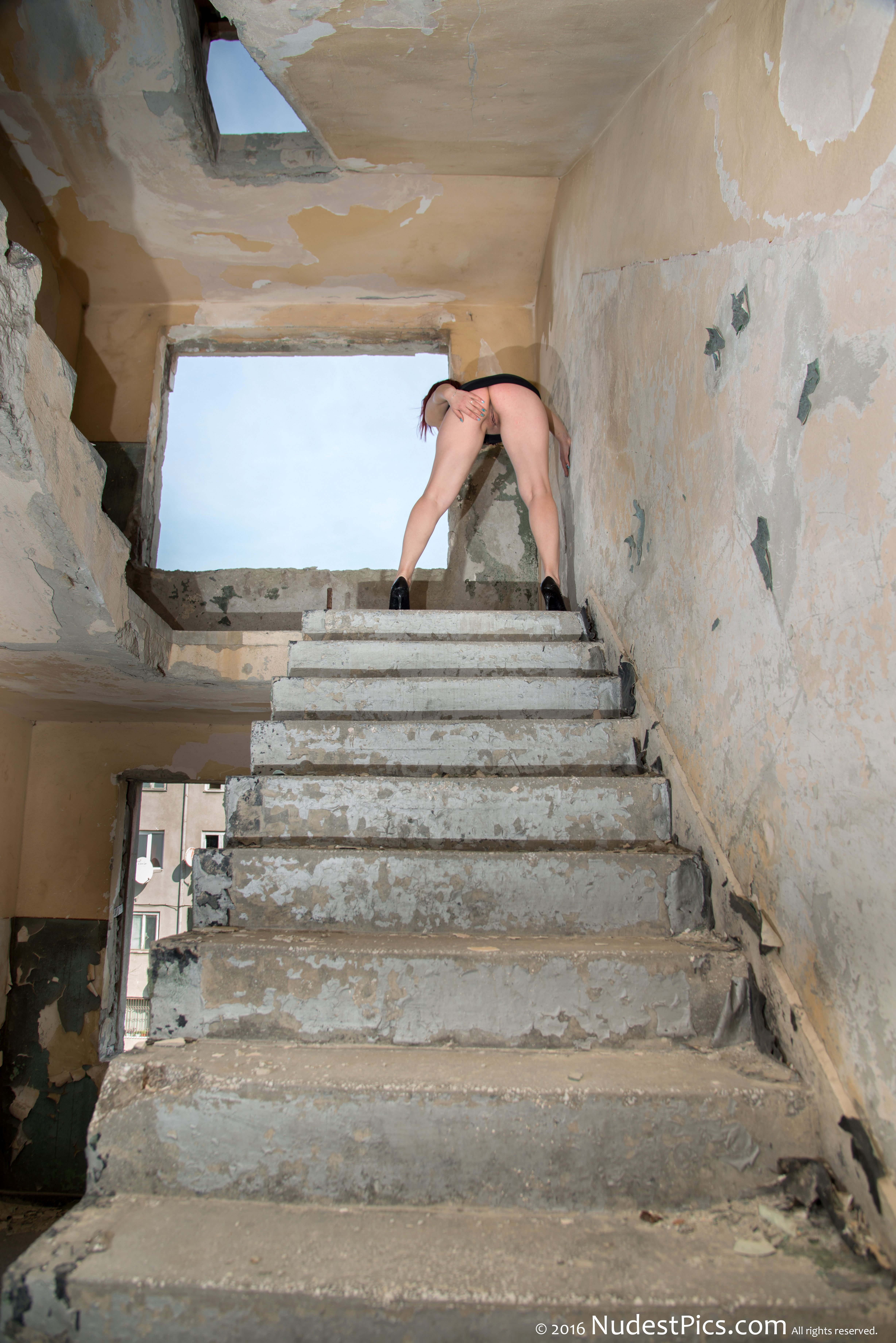 Bent Over Butt & Pussy in Abandoned Block Staircase