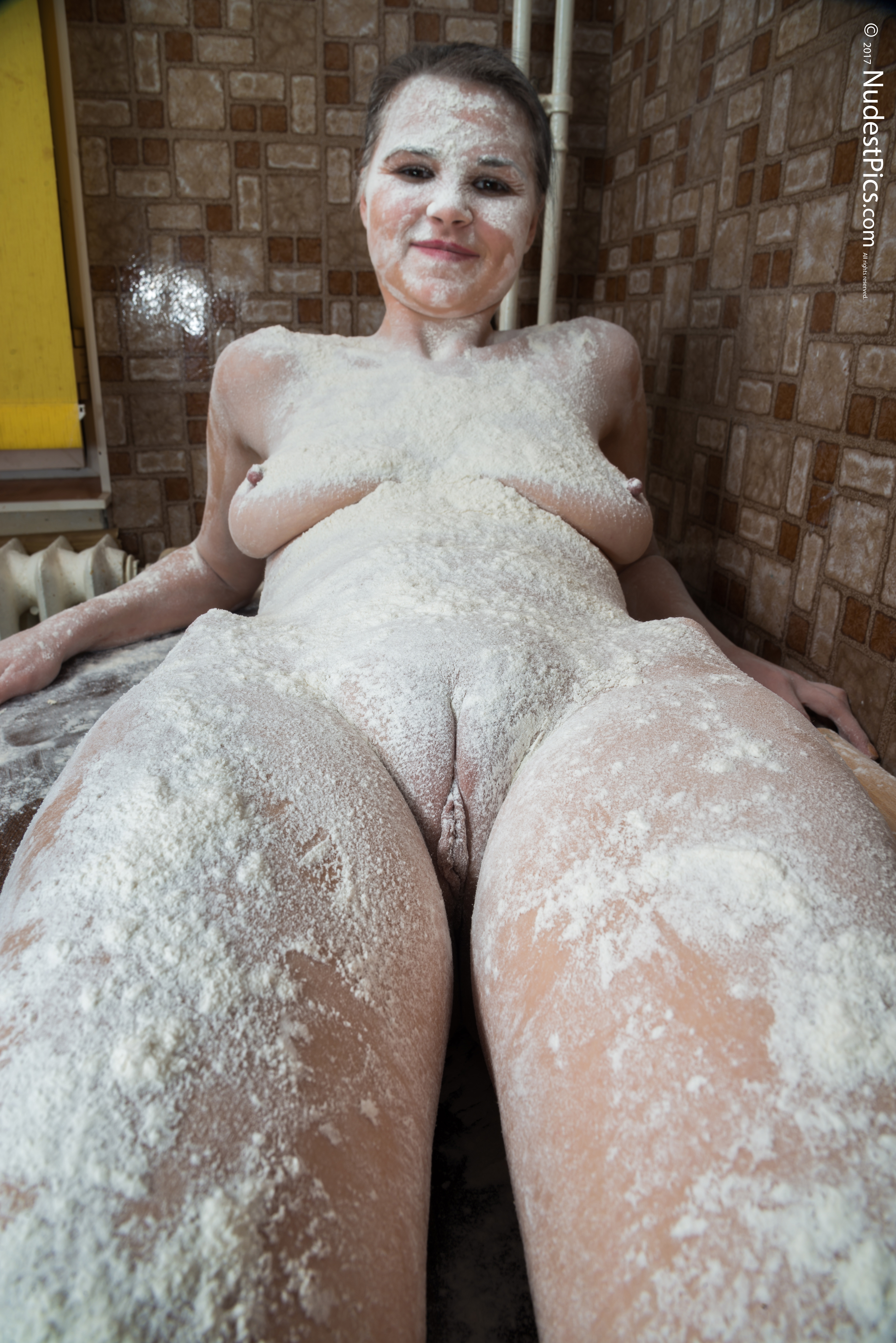 Naked Girl Fully Covered with Flour HD
