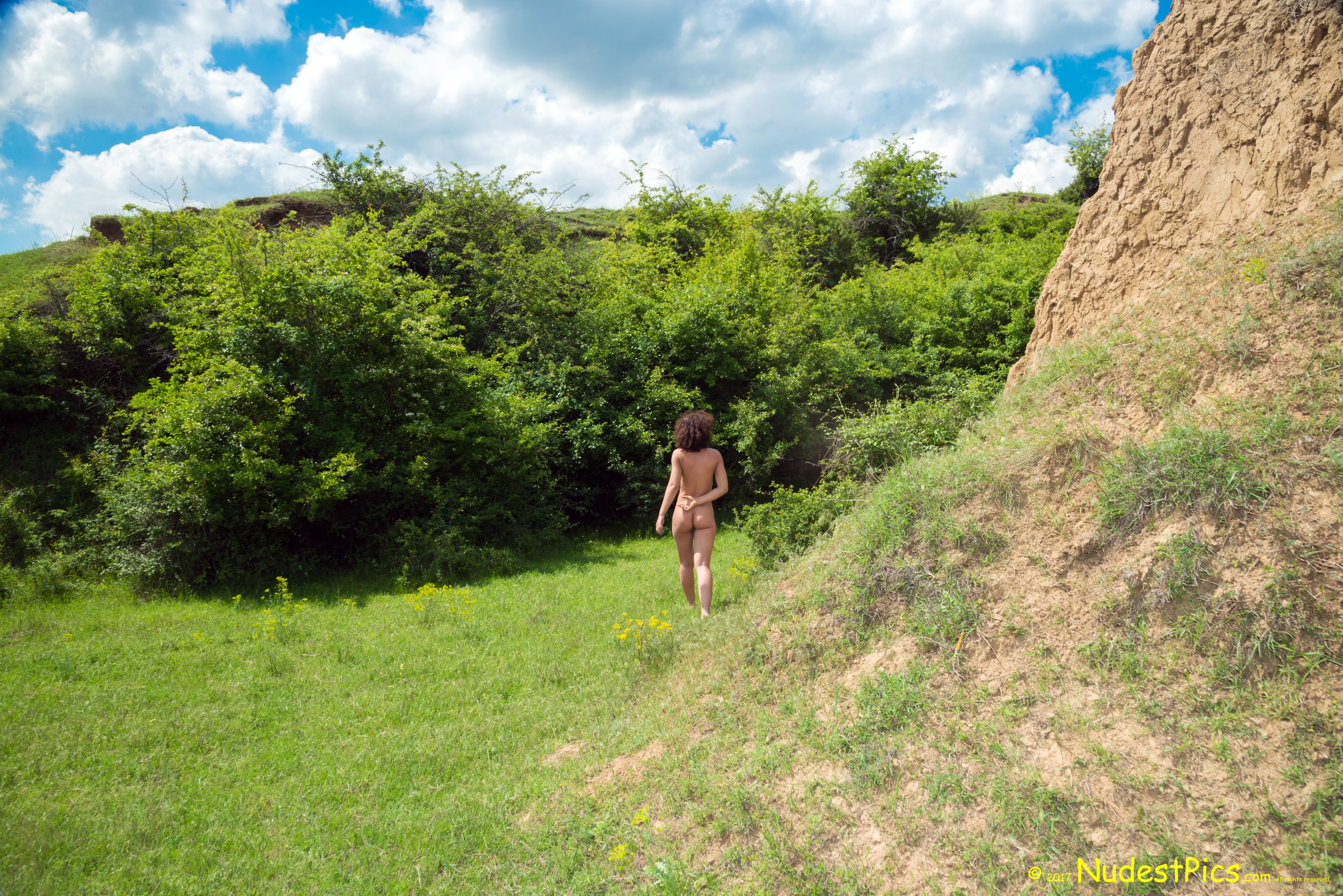 Candid Photo of a Naturist Girl Walking naked HD