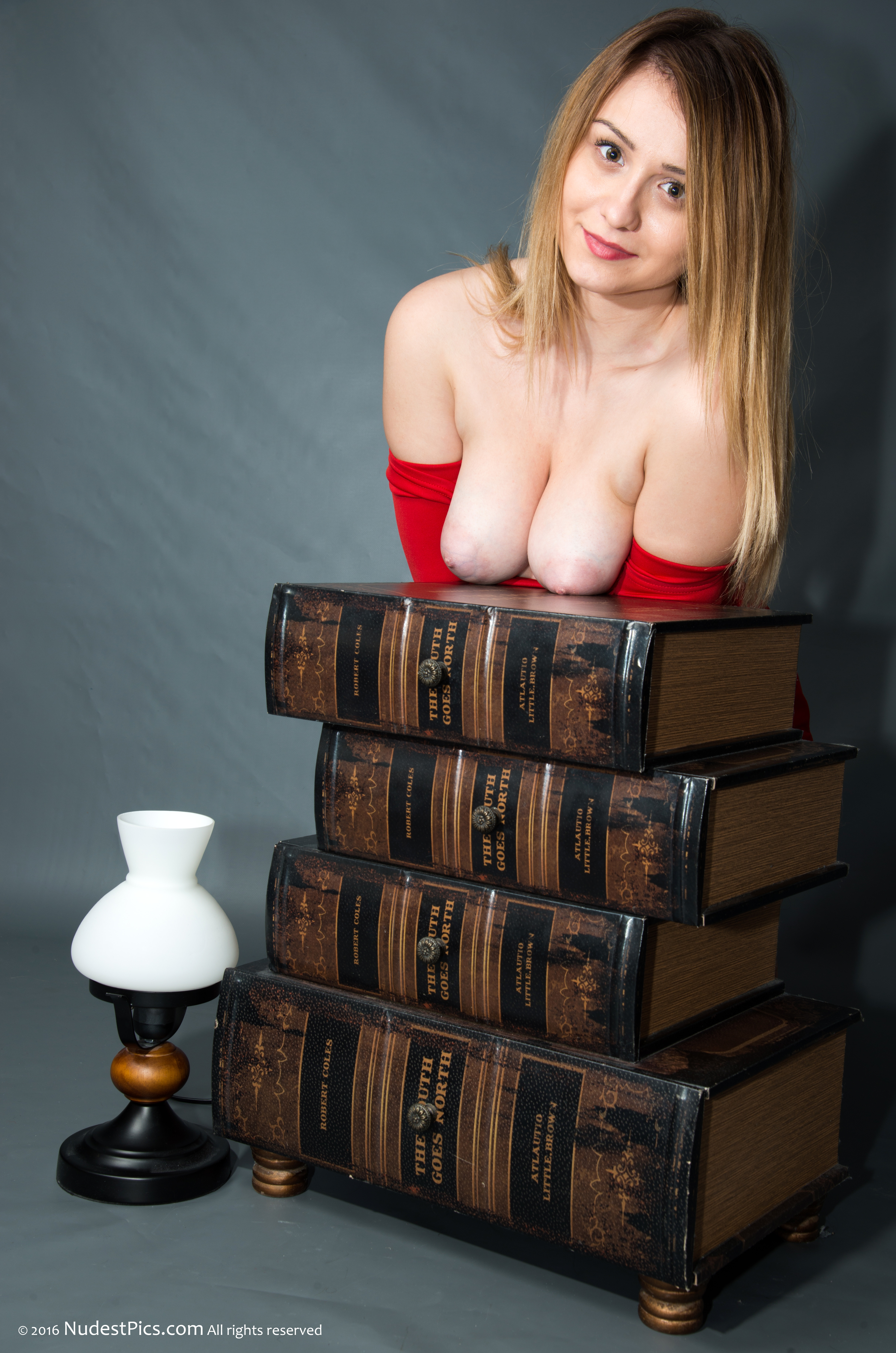 Beautiful Blonde Turkish Girl Big Tits Out at Desk