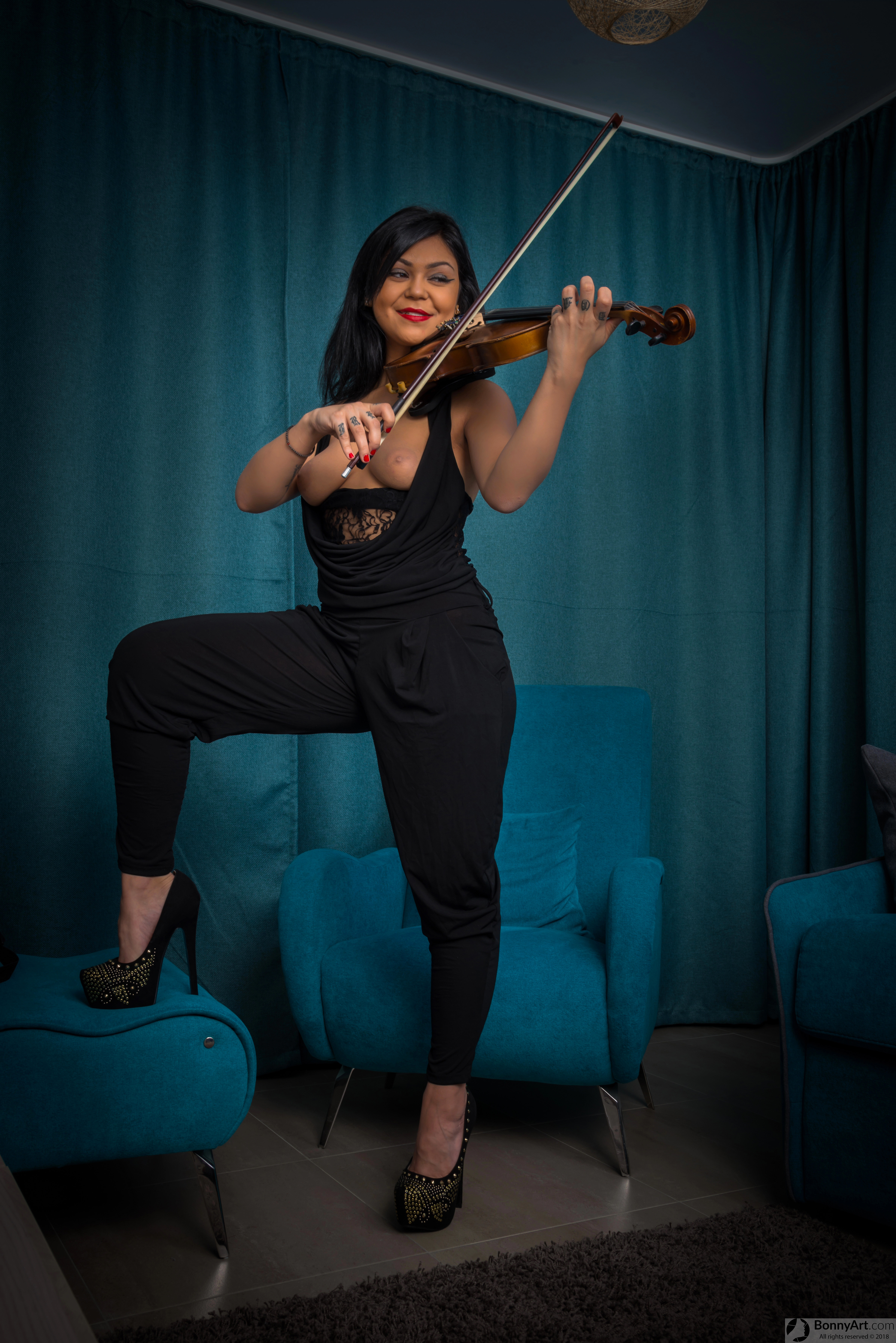 Violinist Girl Playing with Breasts Out HD