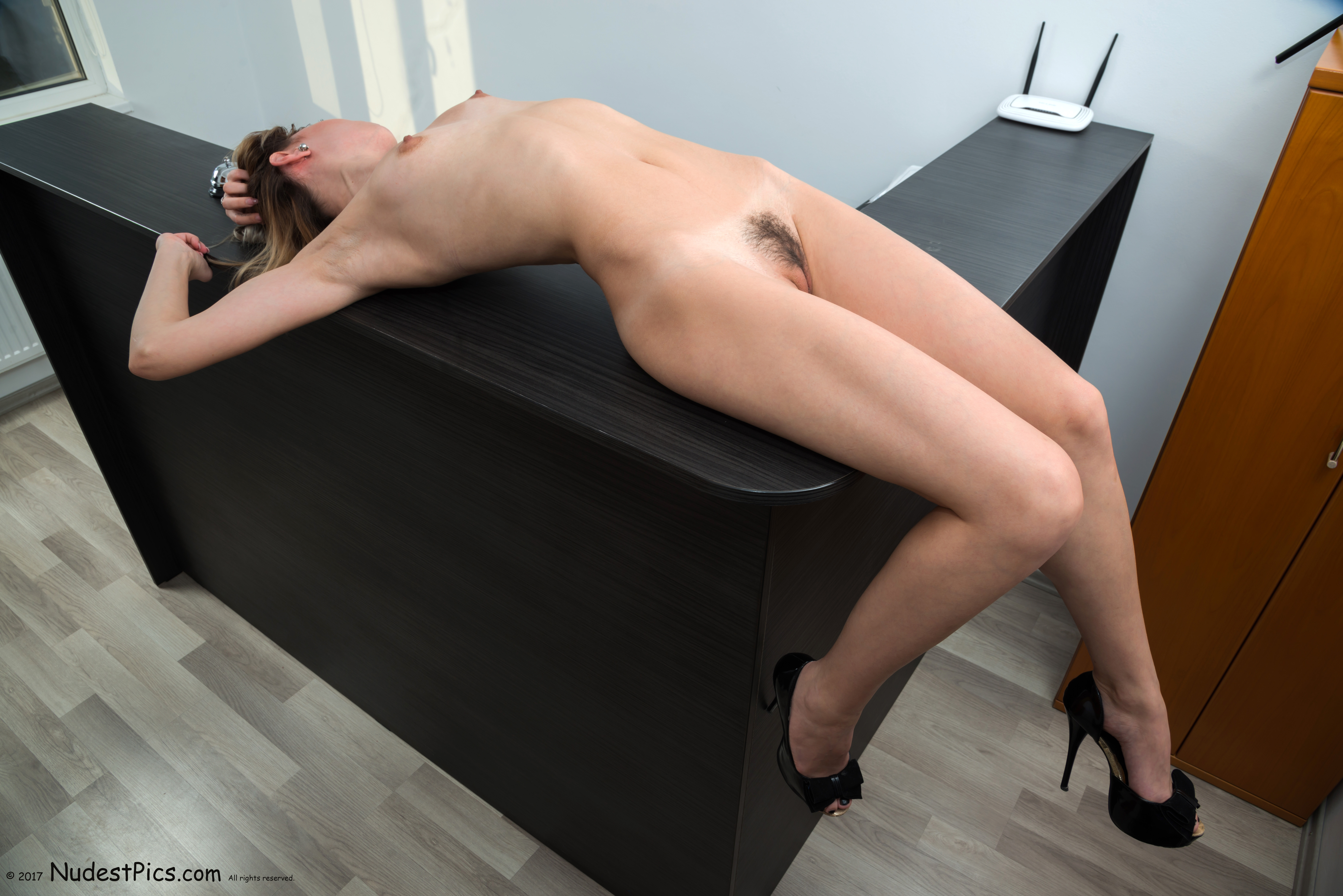 Hot Naked Secretary Stretching on the Desk HD