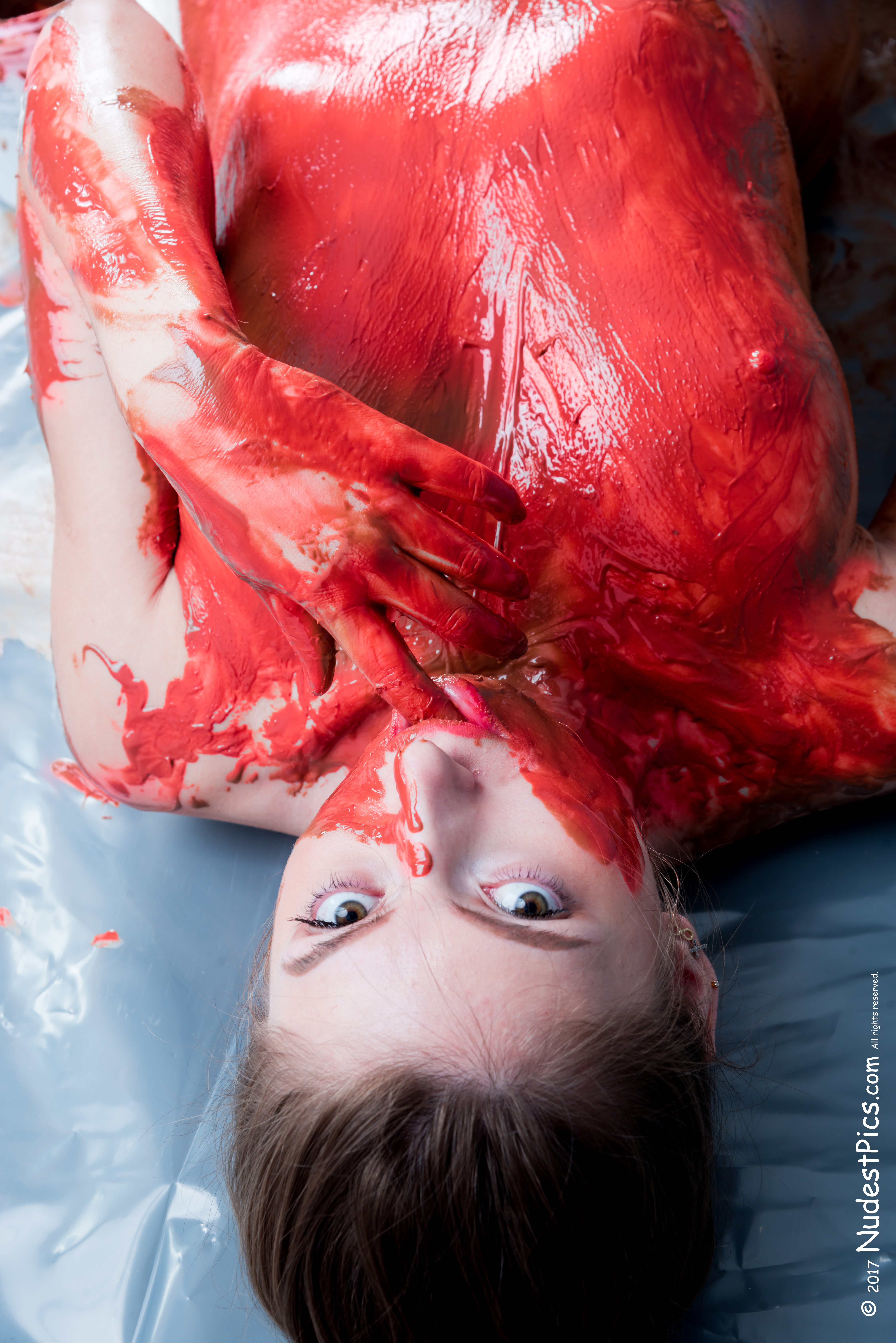 Topless Vampire Girl Covered in Blood Clots HD