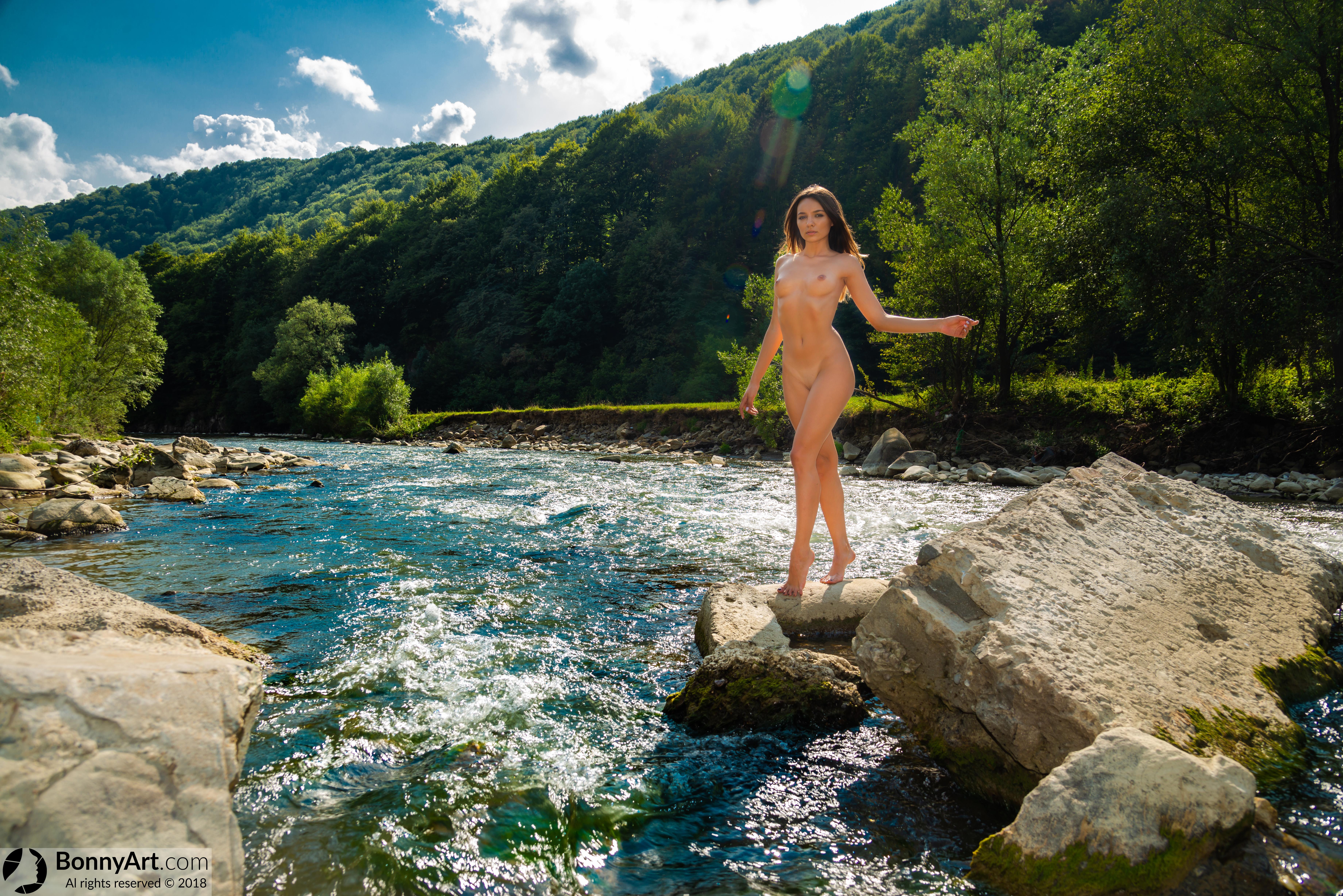 Nudist Beautiful Model Walking on River HD
