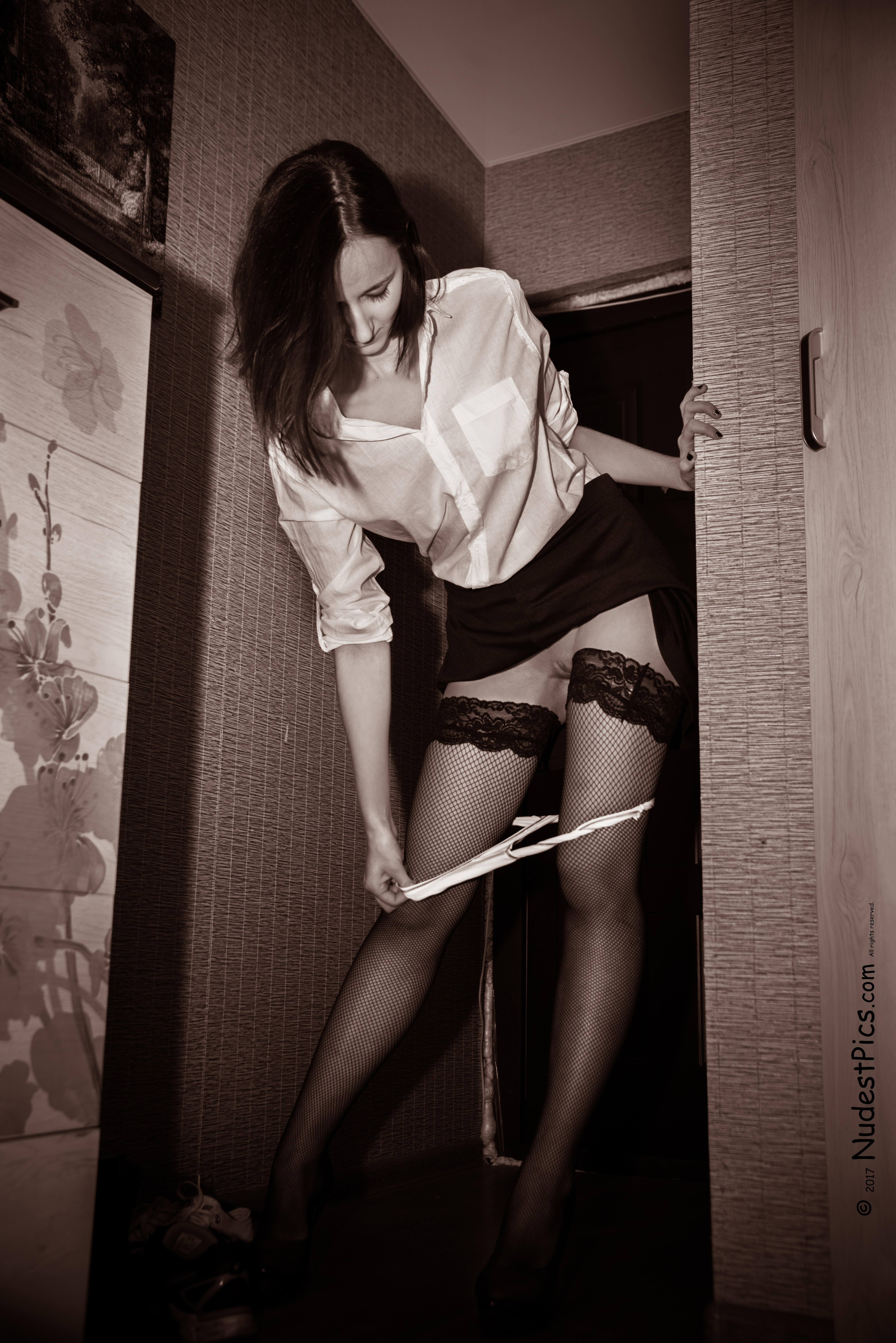 Good Sexy Office GF taking Panties Off