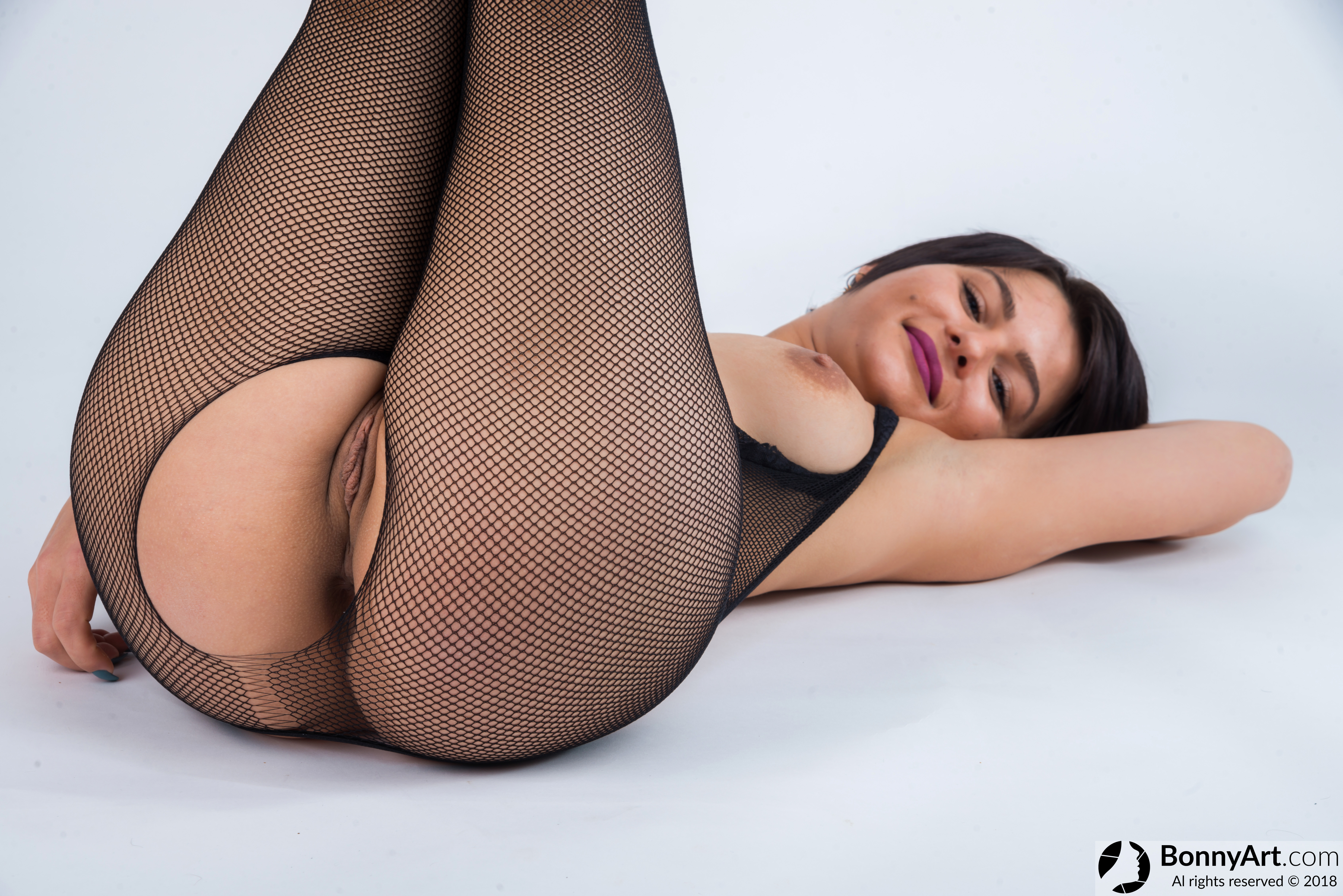 Body Stockings Fishnets Girl showing Pussy and Breast HD