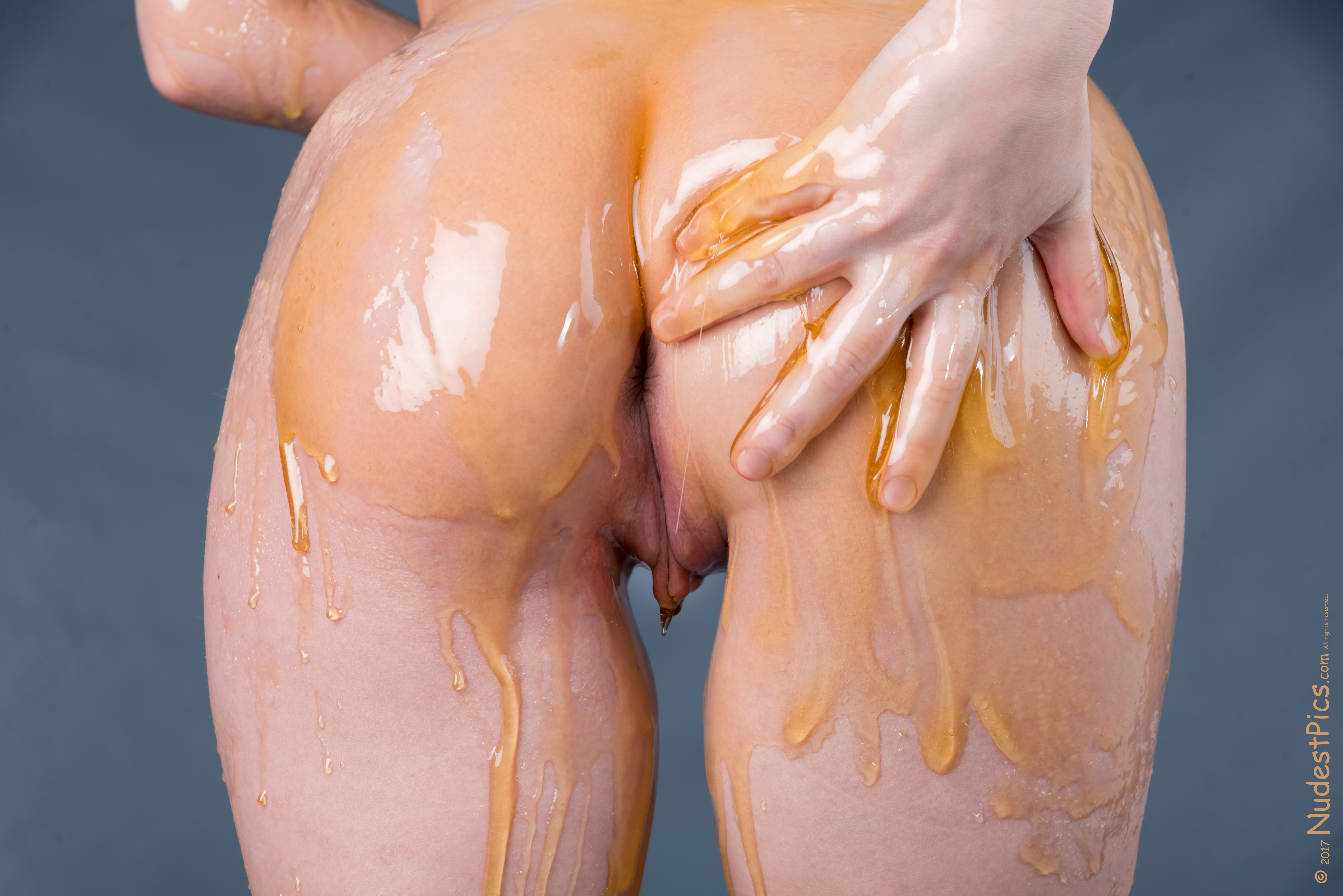 Naked Butt Covered with Honey Dripping on Pussy