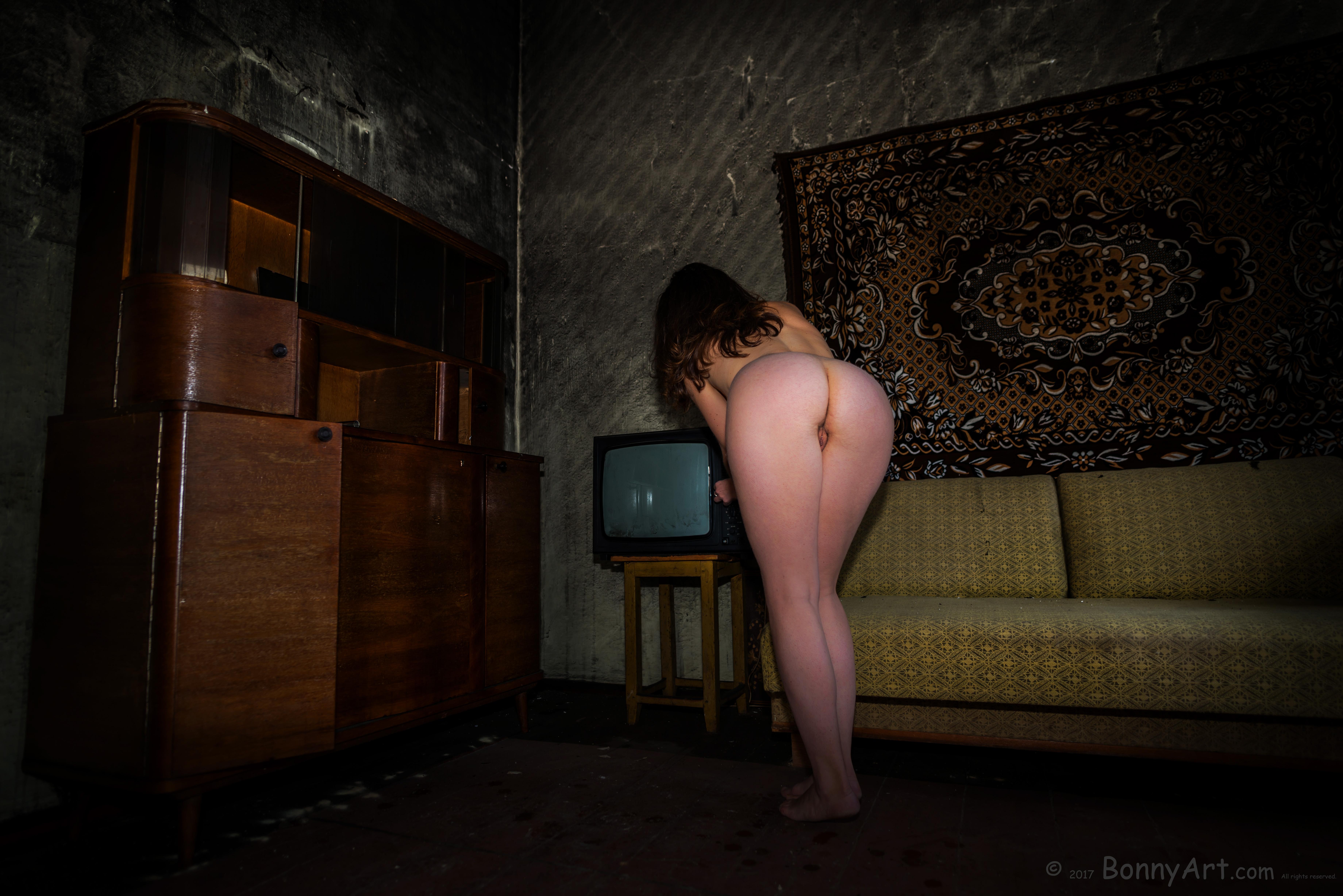 Bending Over in Vintage Horror Apartment