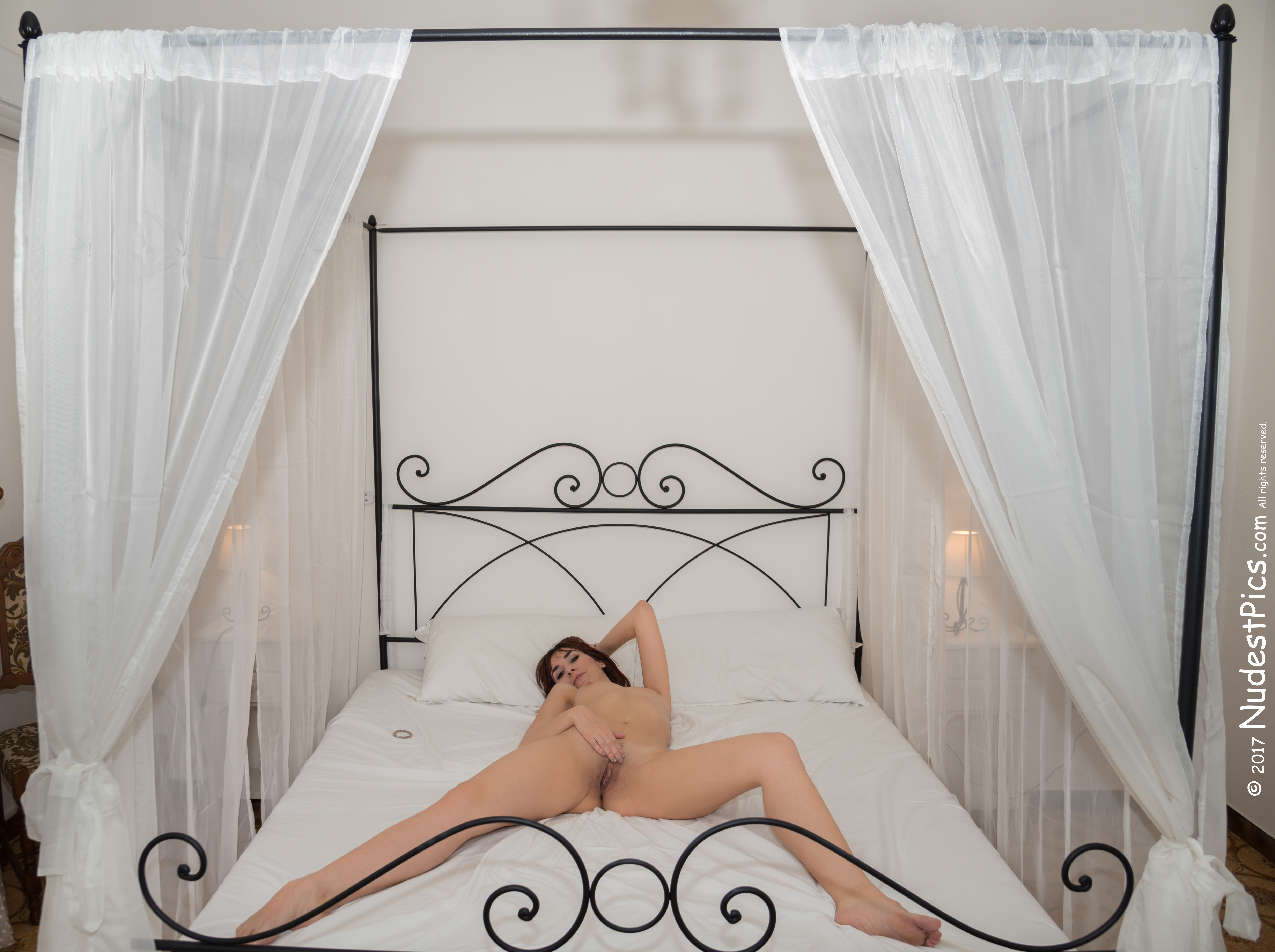 Legs Wide Open Nude Girl in Canopy Bed HD