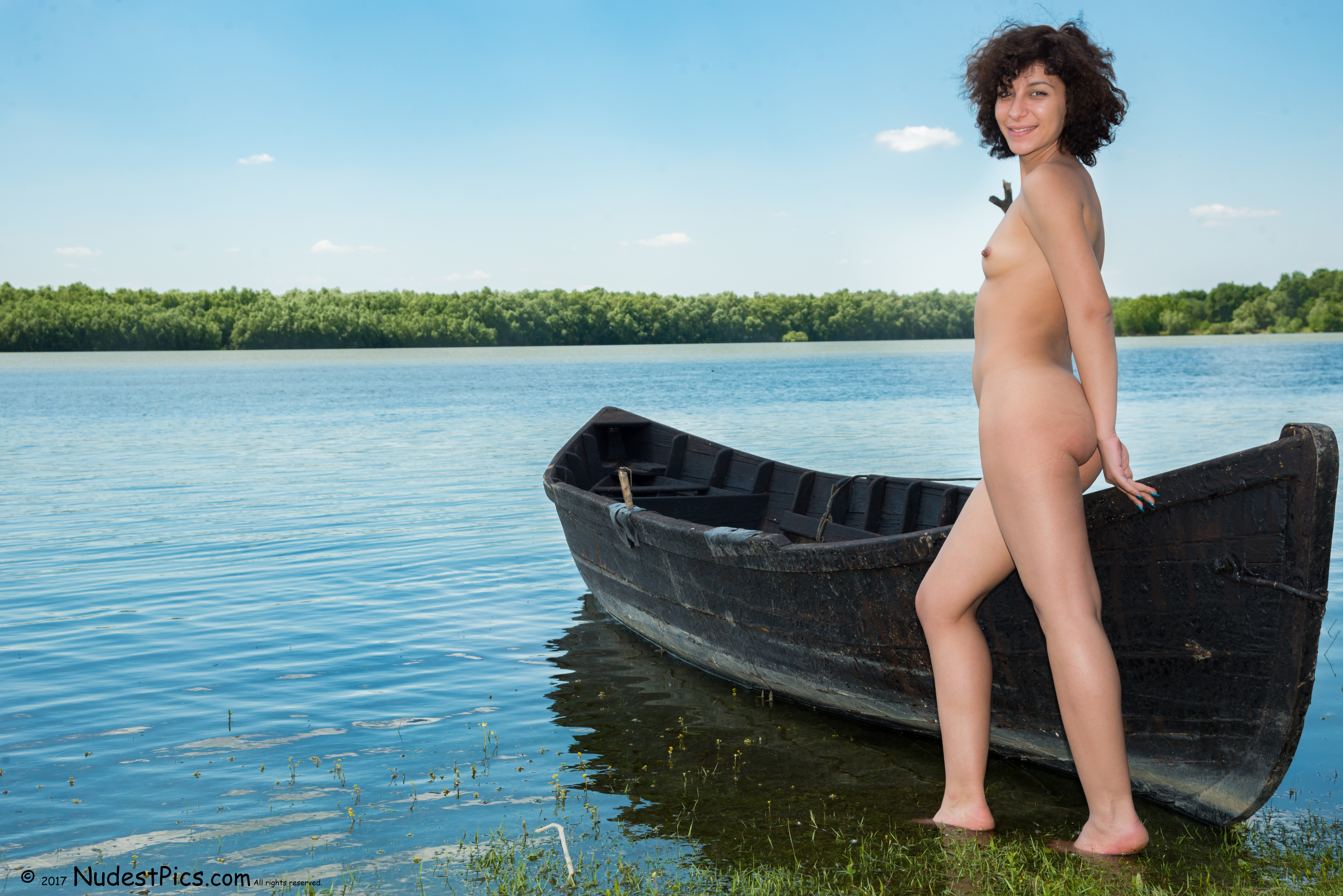 Nudist Girl in the Pond with her Boat HD