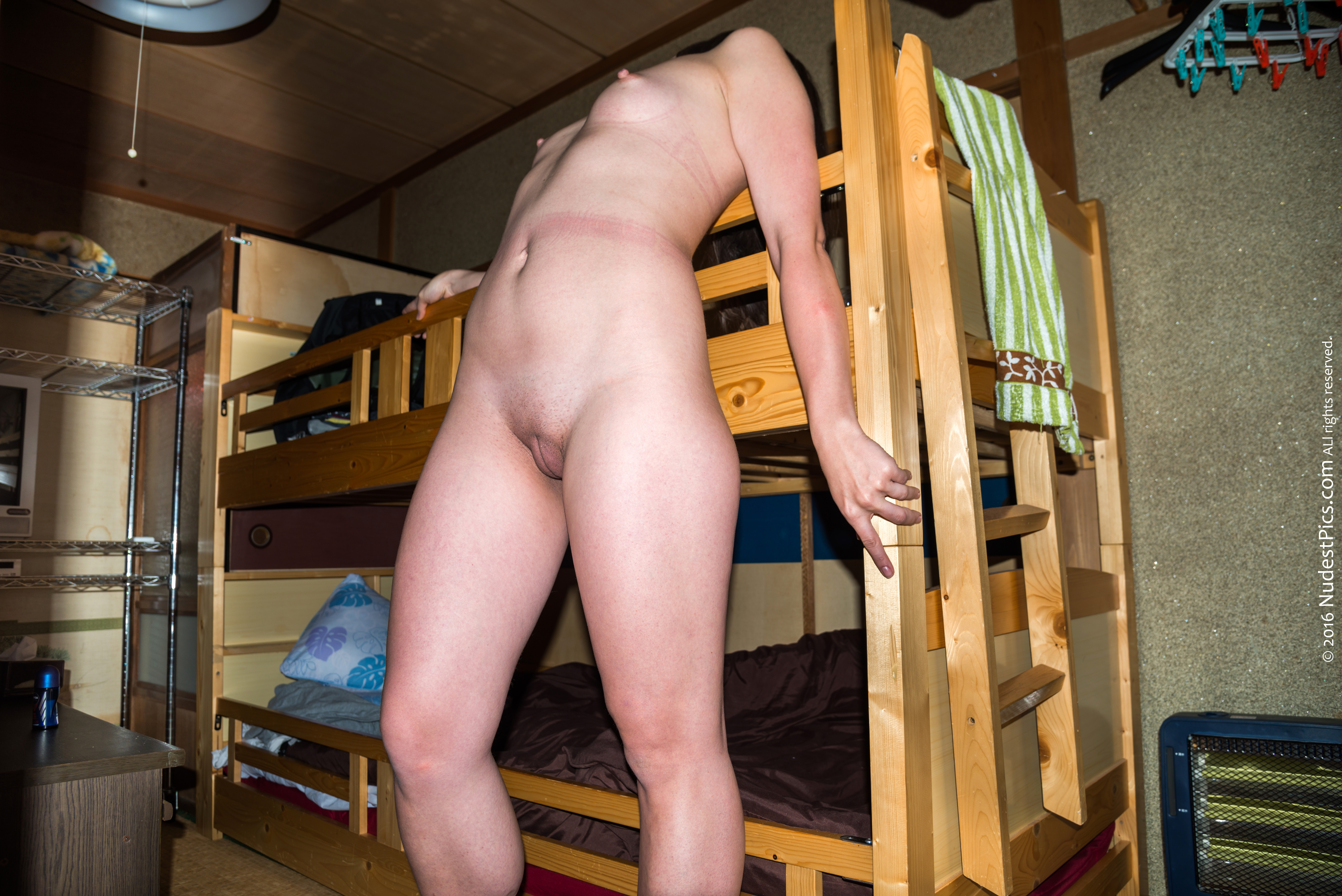 College Girl Naked in the Dorm's Bunk Bed
