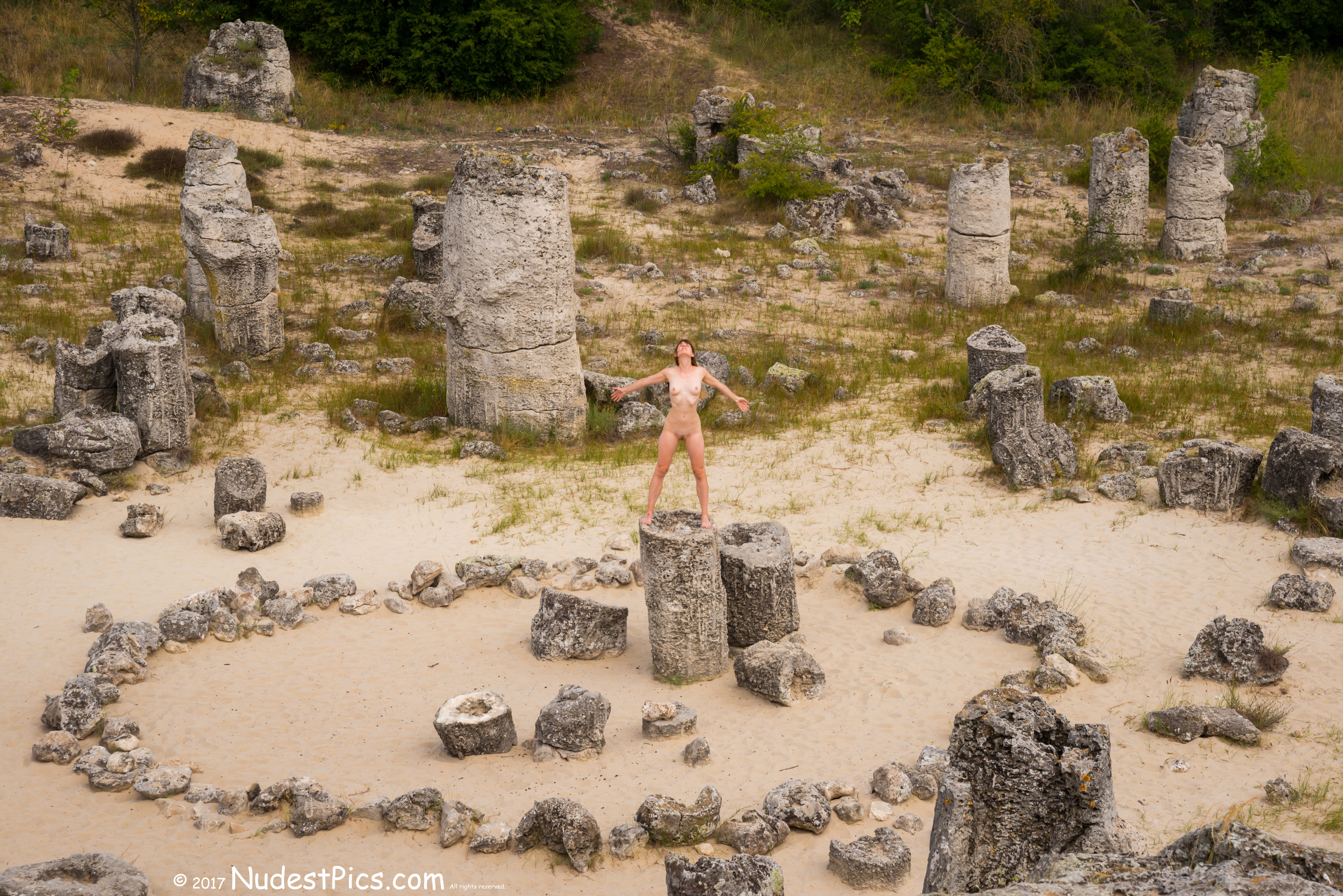 Nude Witch Performing Pagan Stone Ritual HD