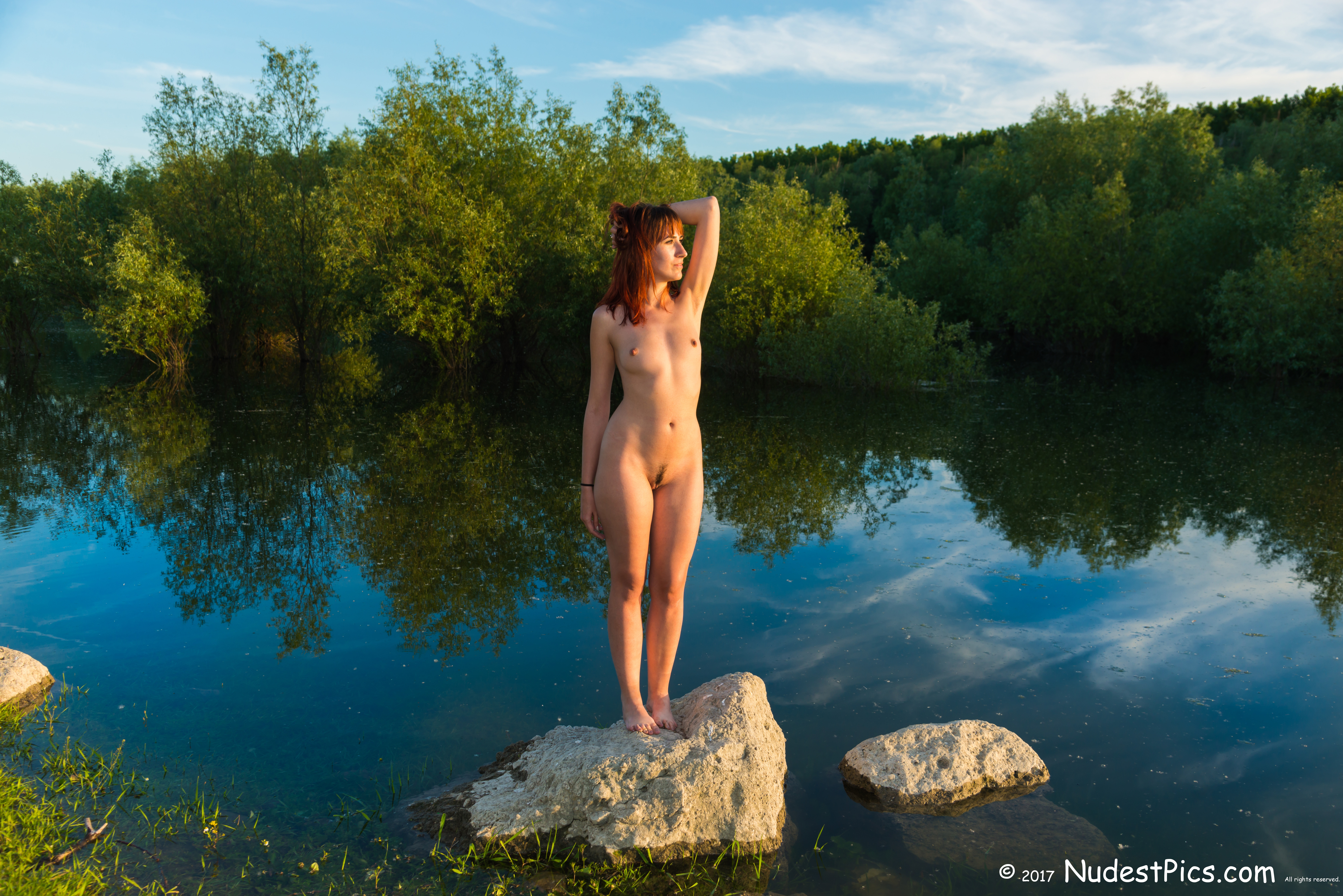 Nude Redhead at Sunset over the Colorful Pond HD