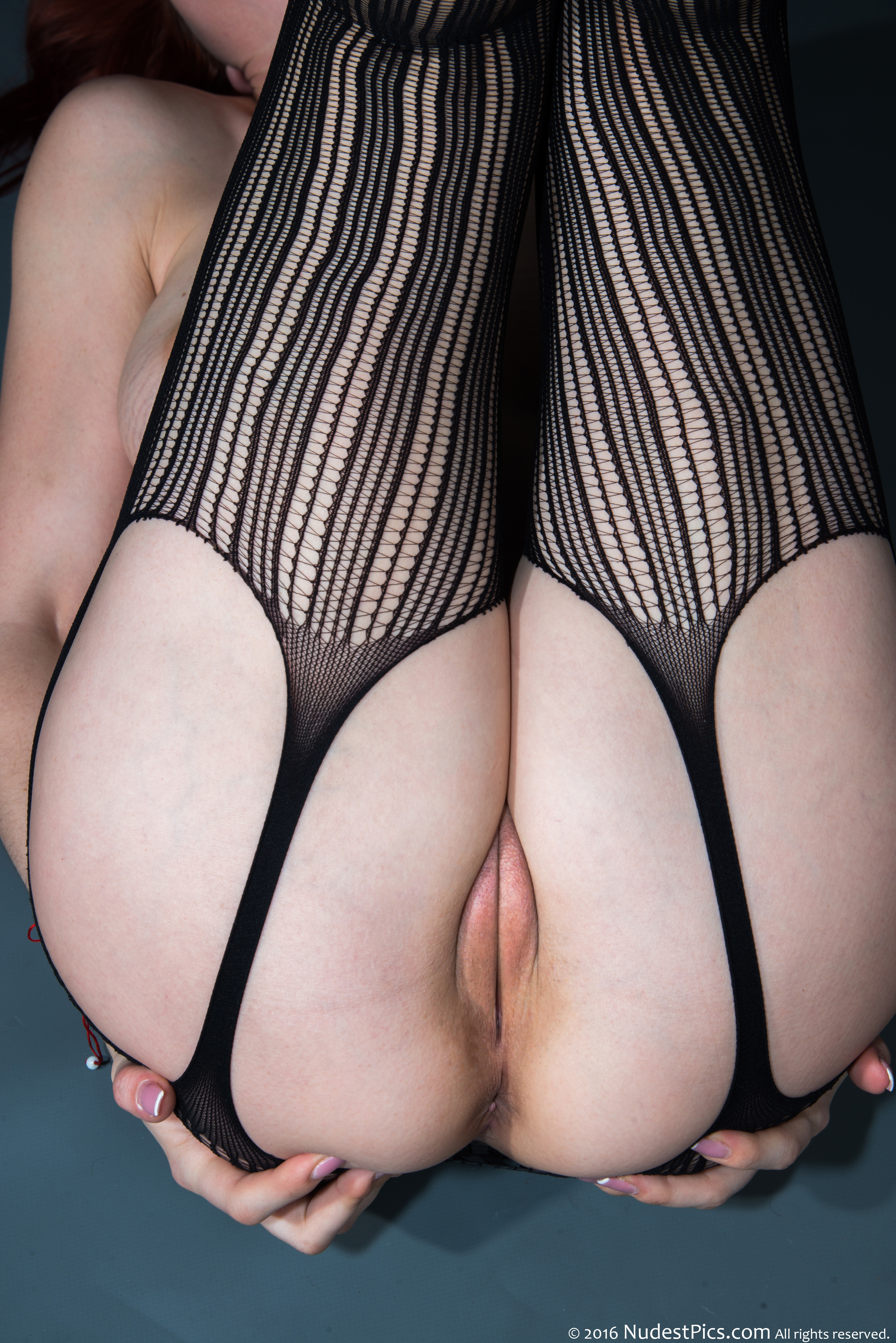 Legs Up Shaved Pussy Provocative Stockings