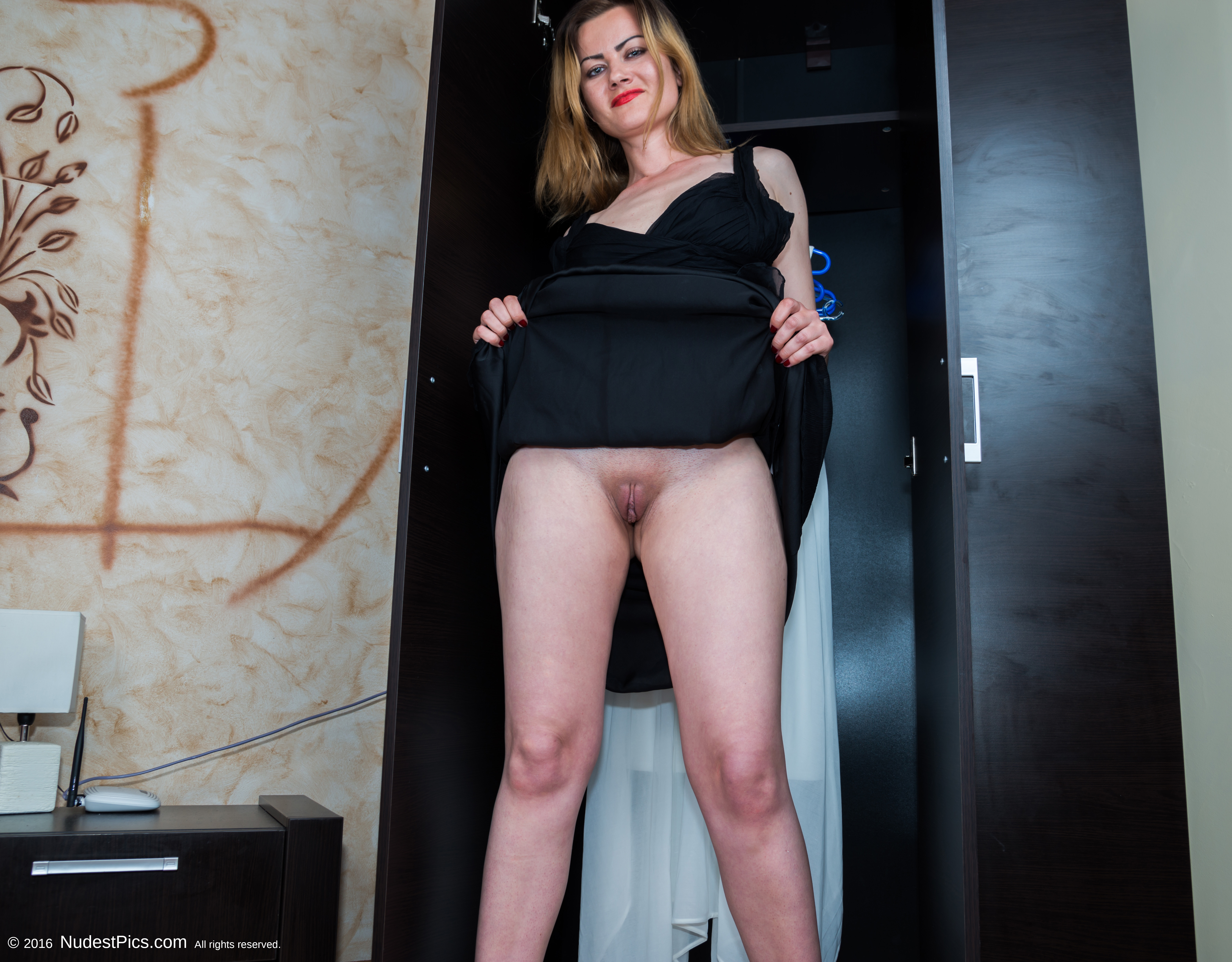 Young Wife Flashing Shaved Pussy at the Wardrobe full HD