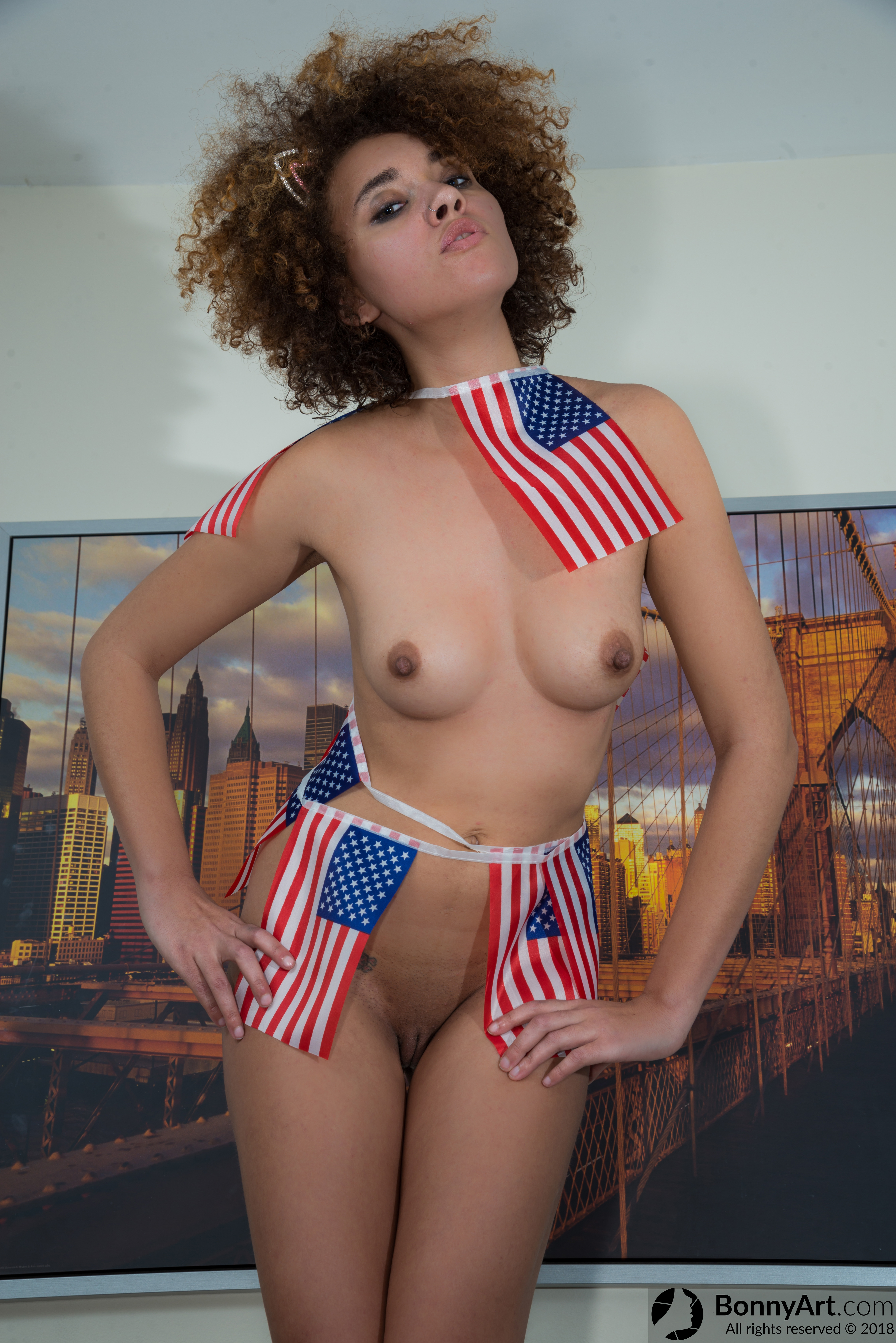 Naked American Model Wearing USA Flags HD