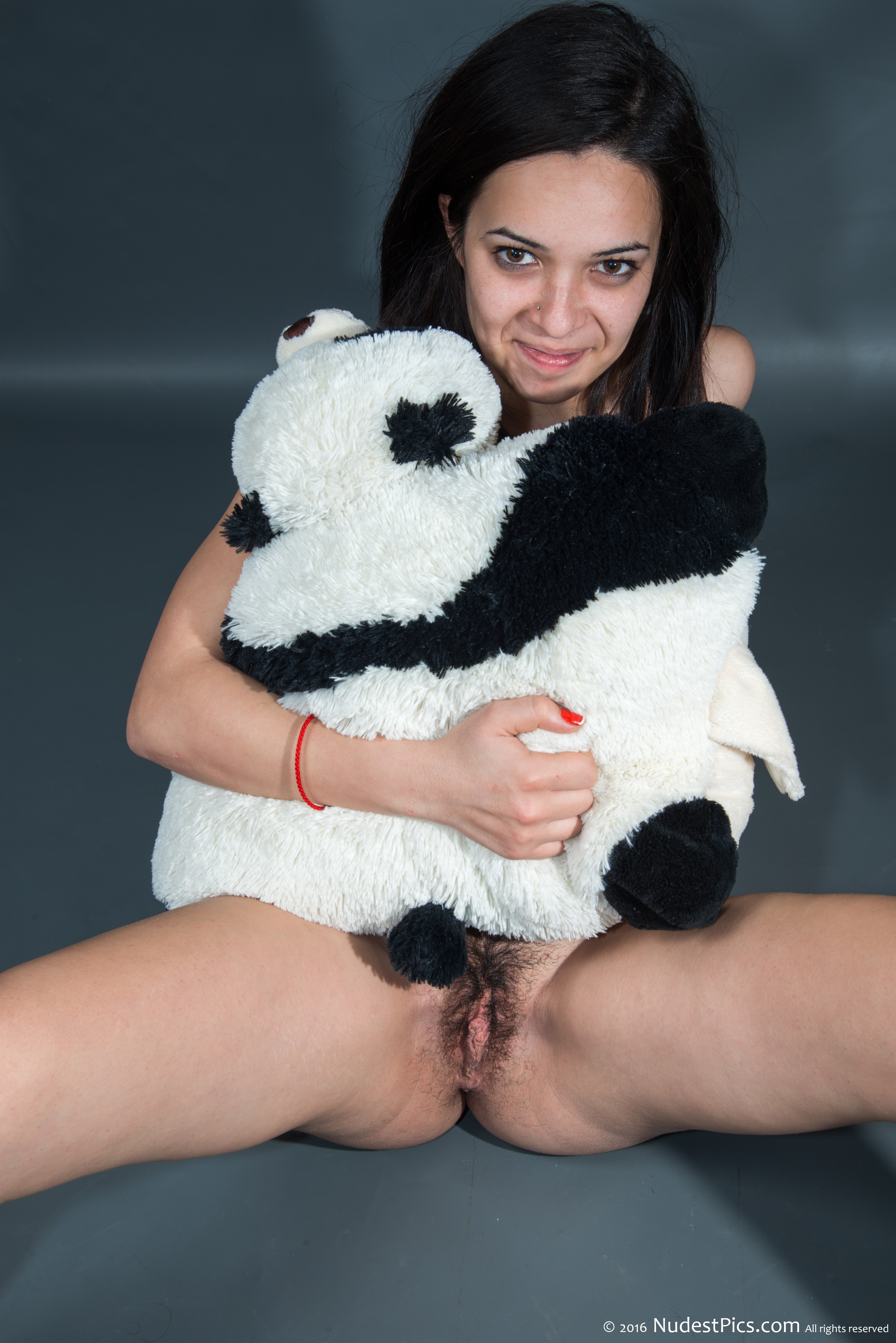 Youngster Girl Hairy Pussy Hugging Plush Panda HD