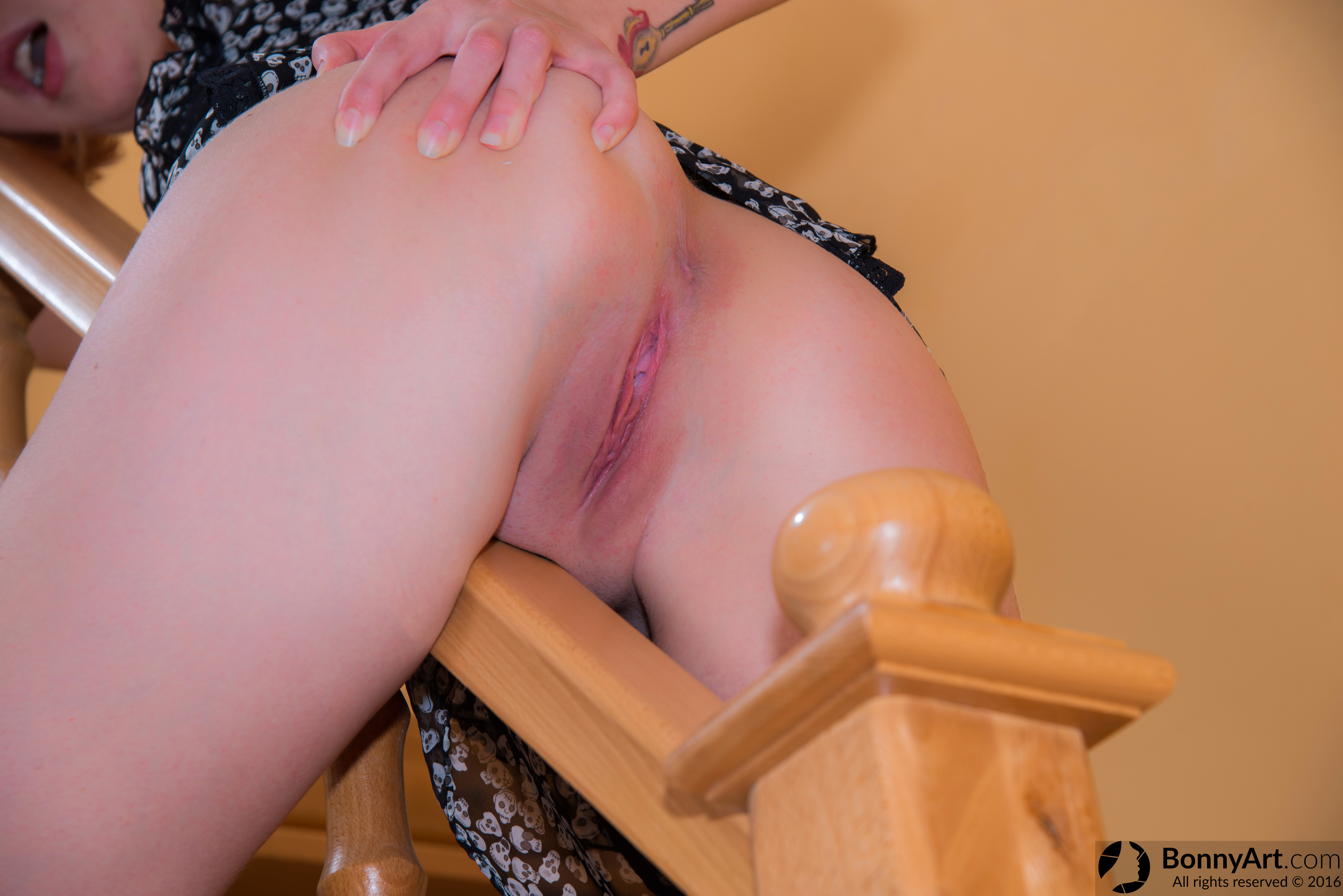 Moaning White Ass & Pussy Spreading on the Railing HD