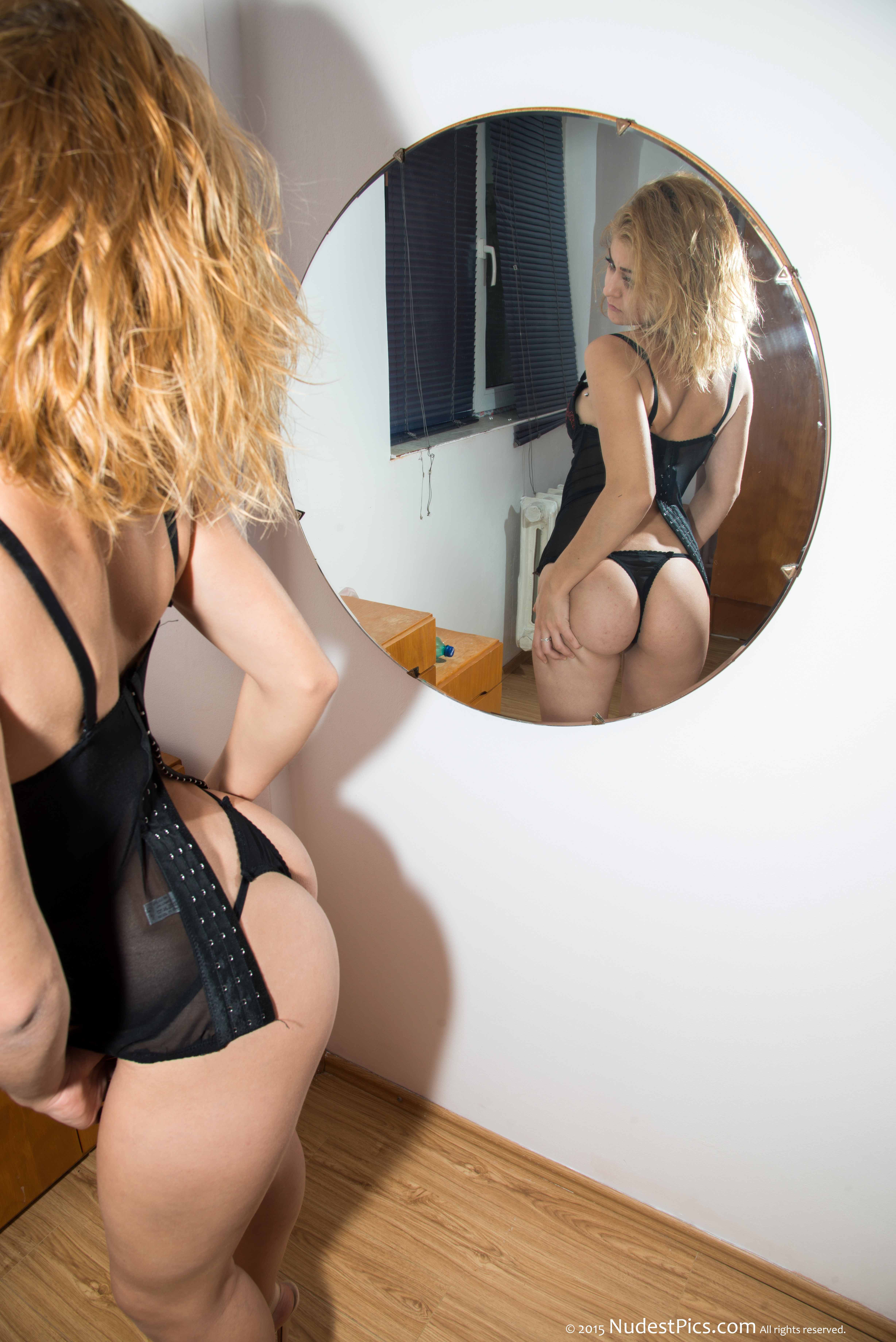 Gorgeous Teen Girl Admiring Her Round Booty with Thong in the Mirror HD