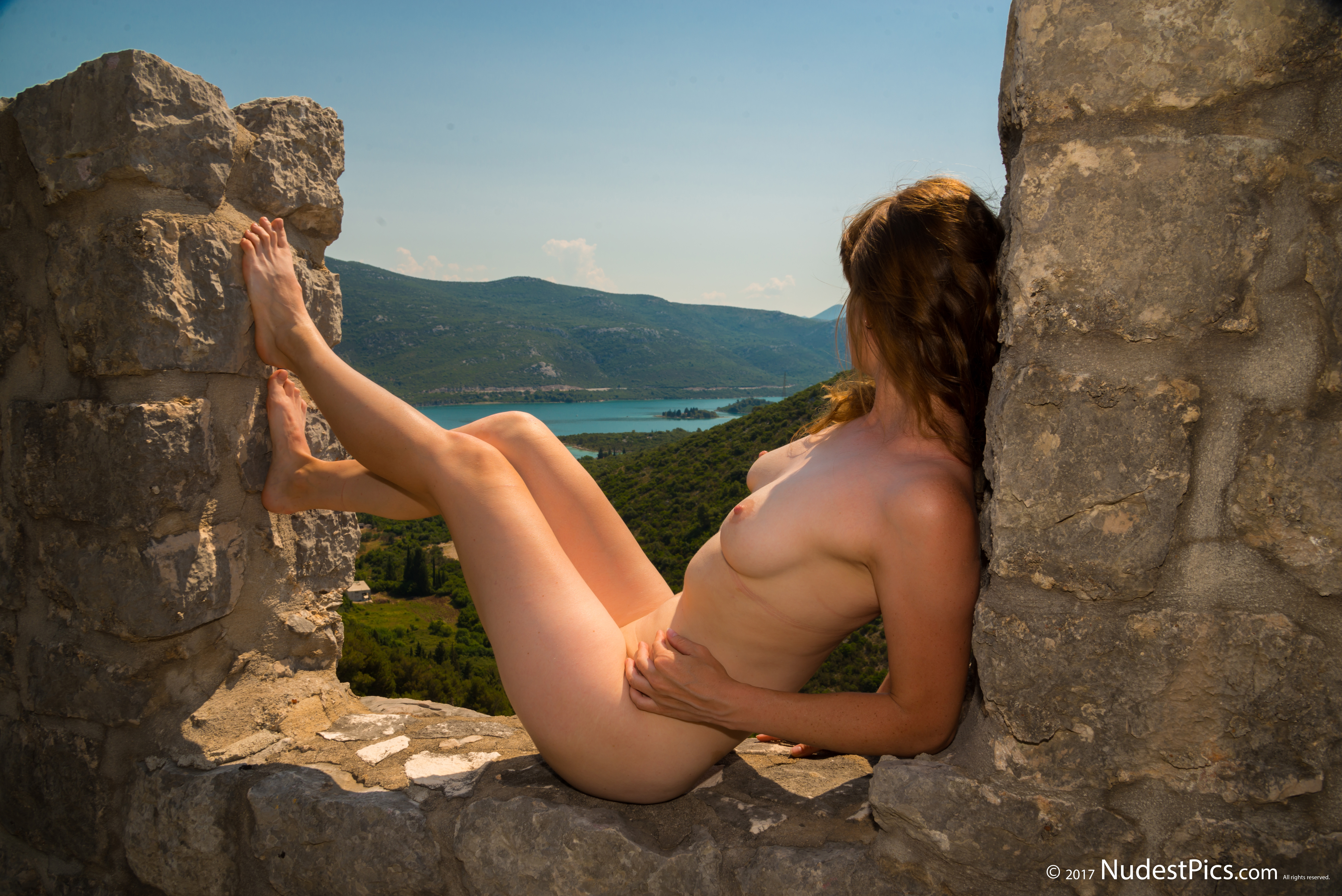 Naked Girl on Castle Walls HD