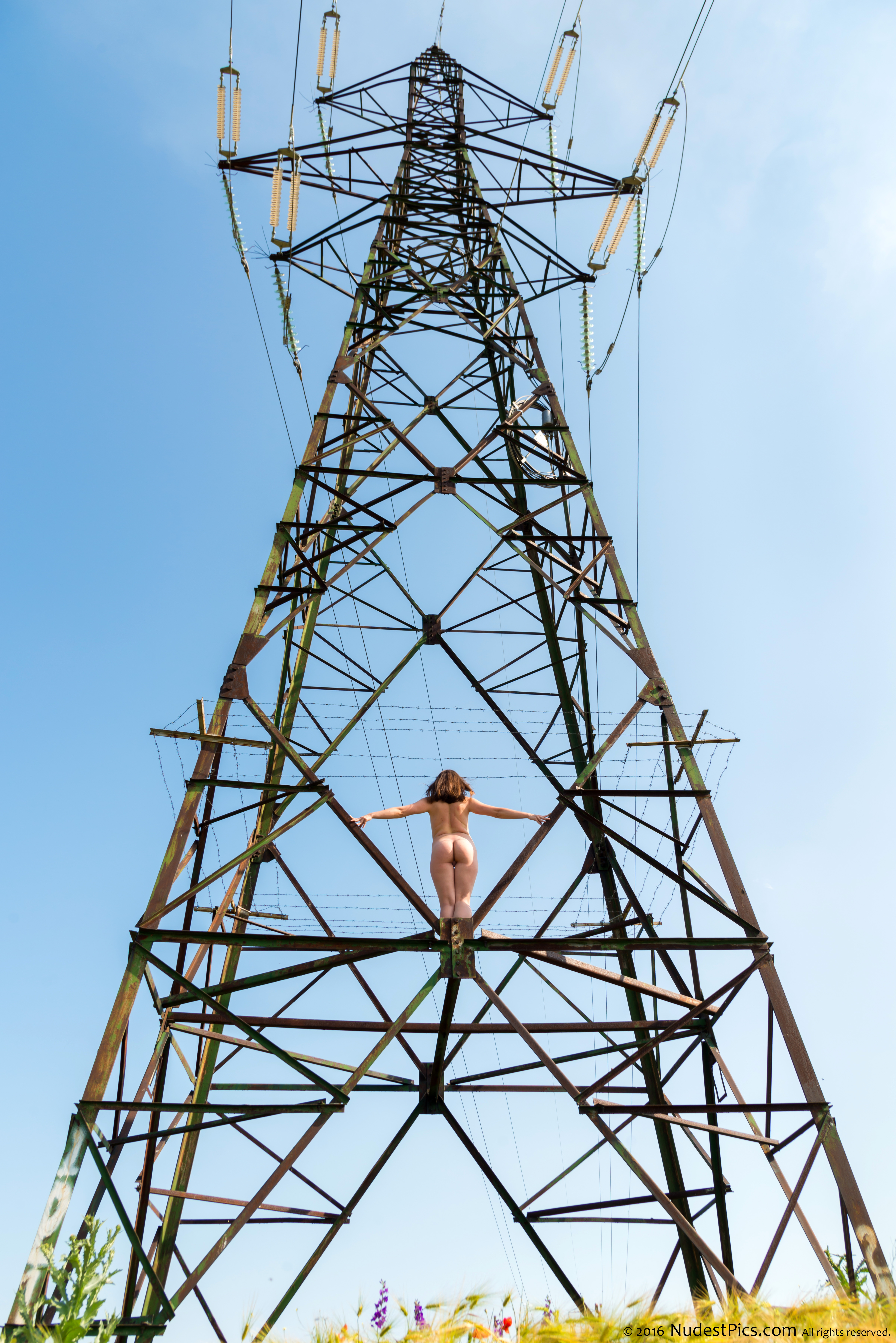 Naked Girl Up on Big Metallic Electric Pole