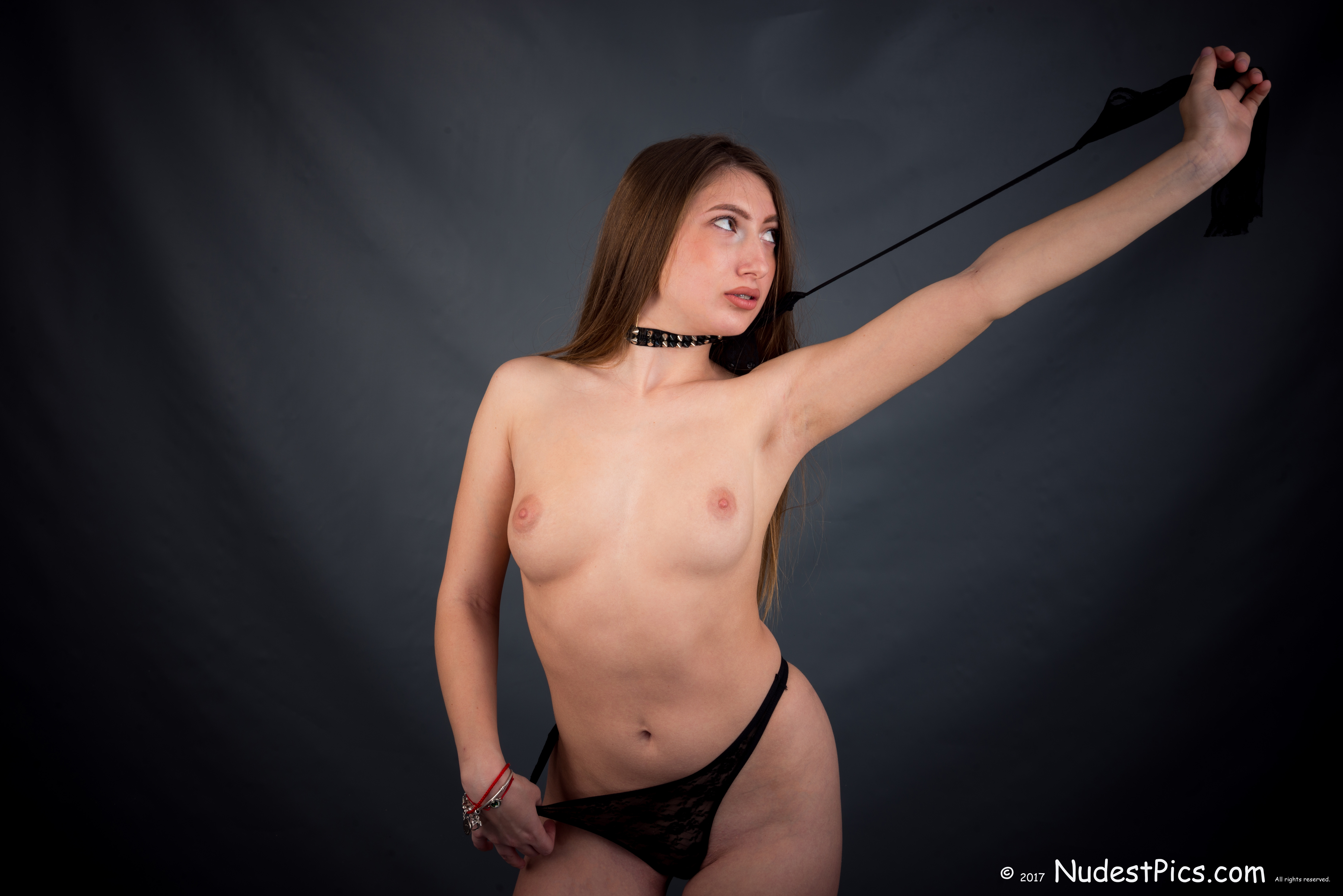 Topless White Gal Pet Pulling Leash HD