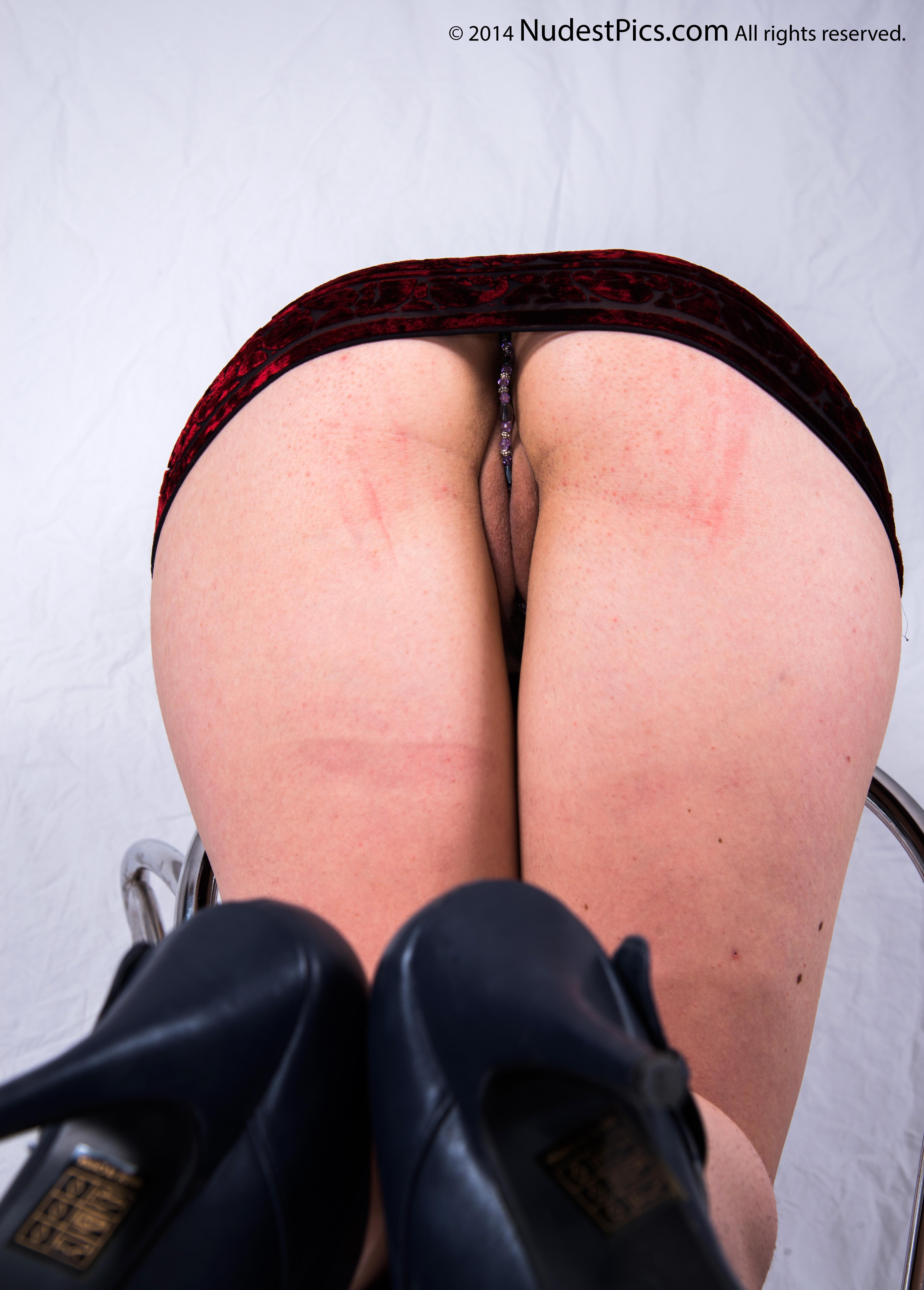 Kneeling Bent Over Upskirt Pussy Lips