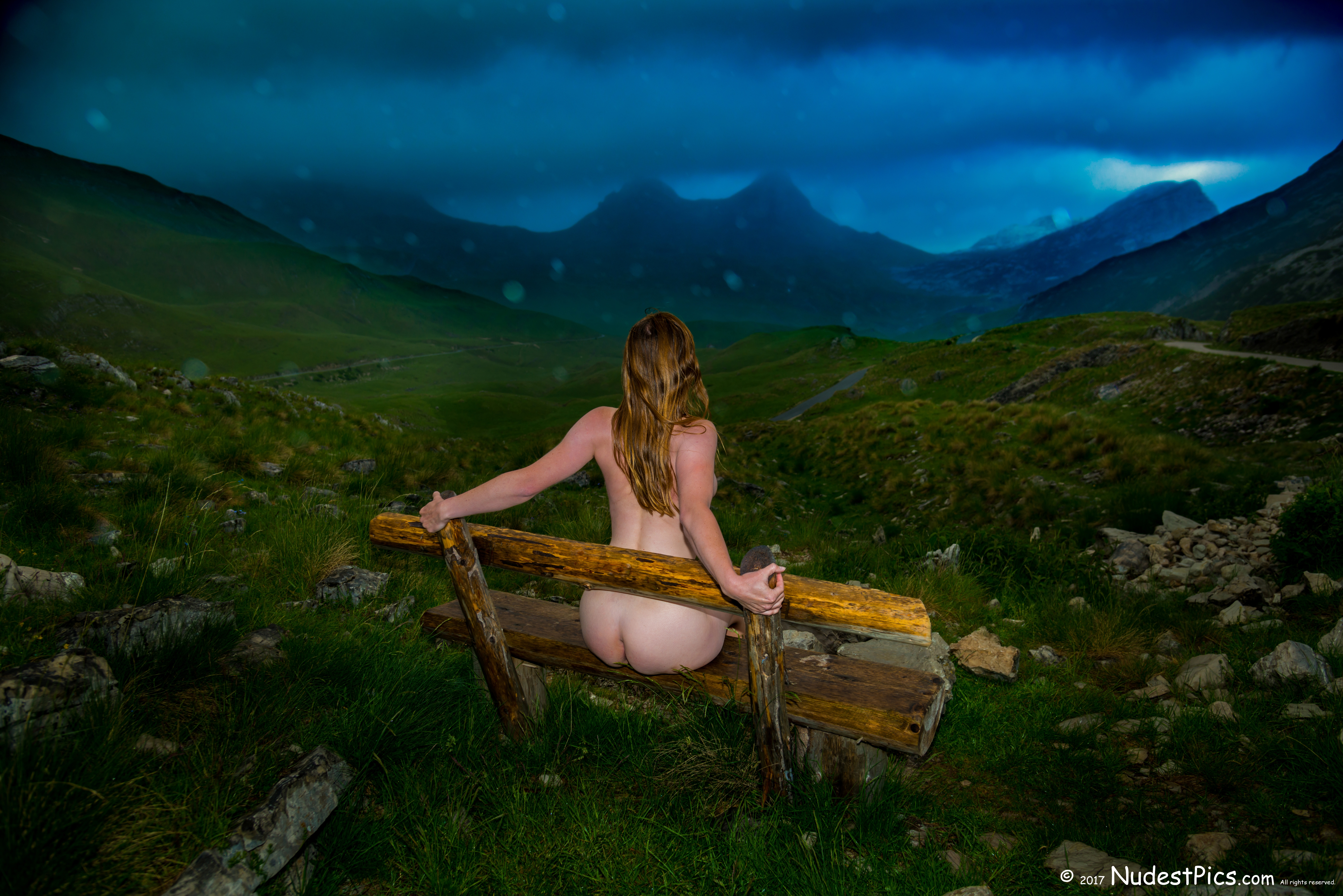 Naked Girl on Bench Watching the Devi'l Mountain