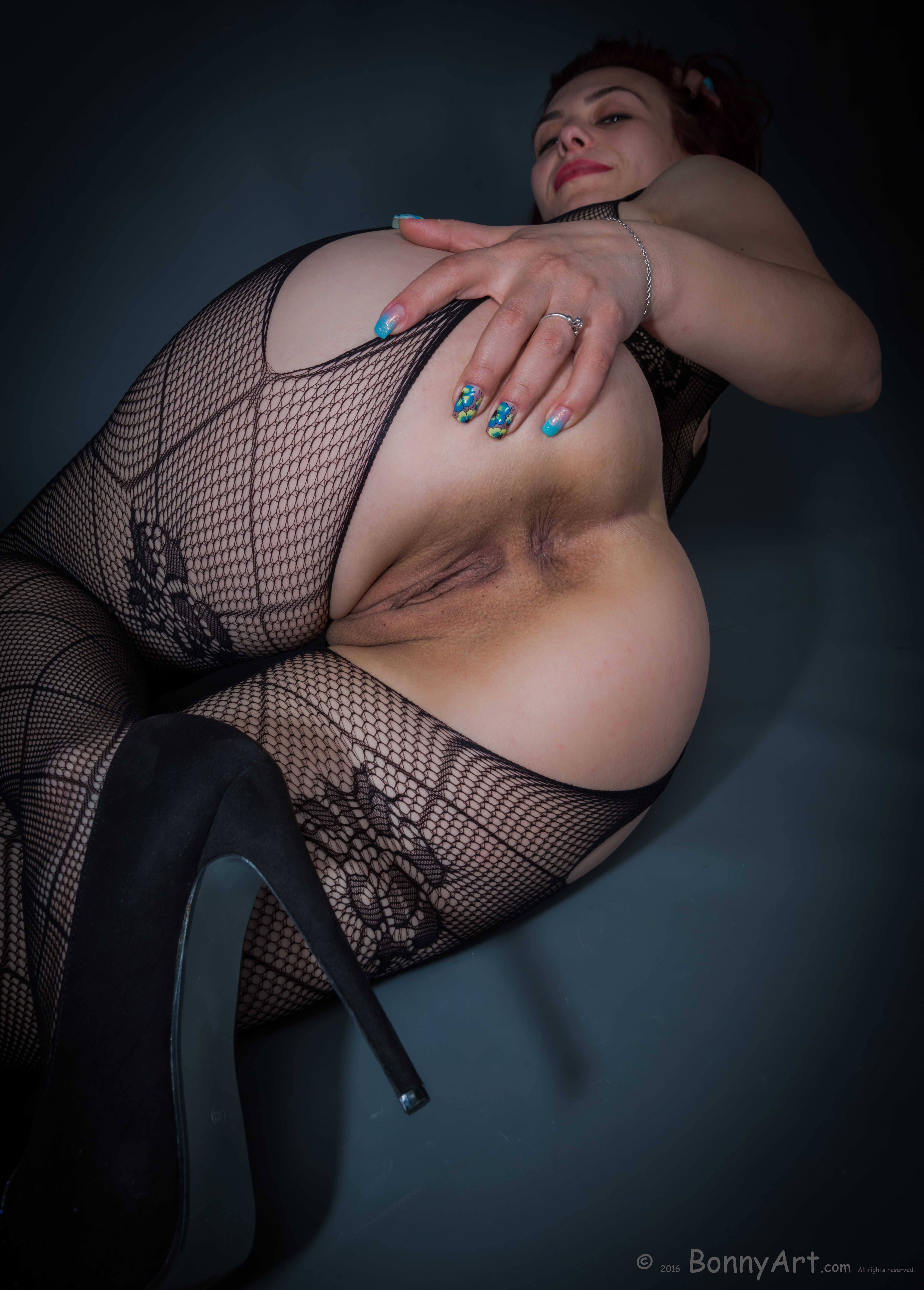 Pulling Her Wide Ass Open with Crotchless Tights HD