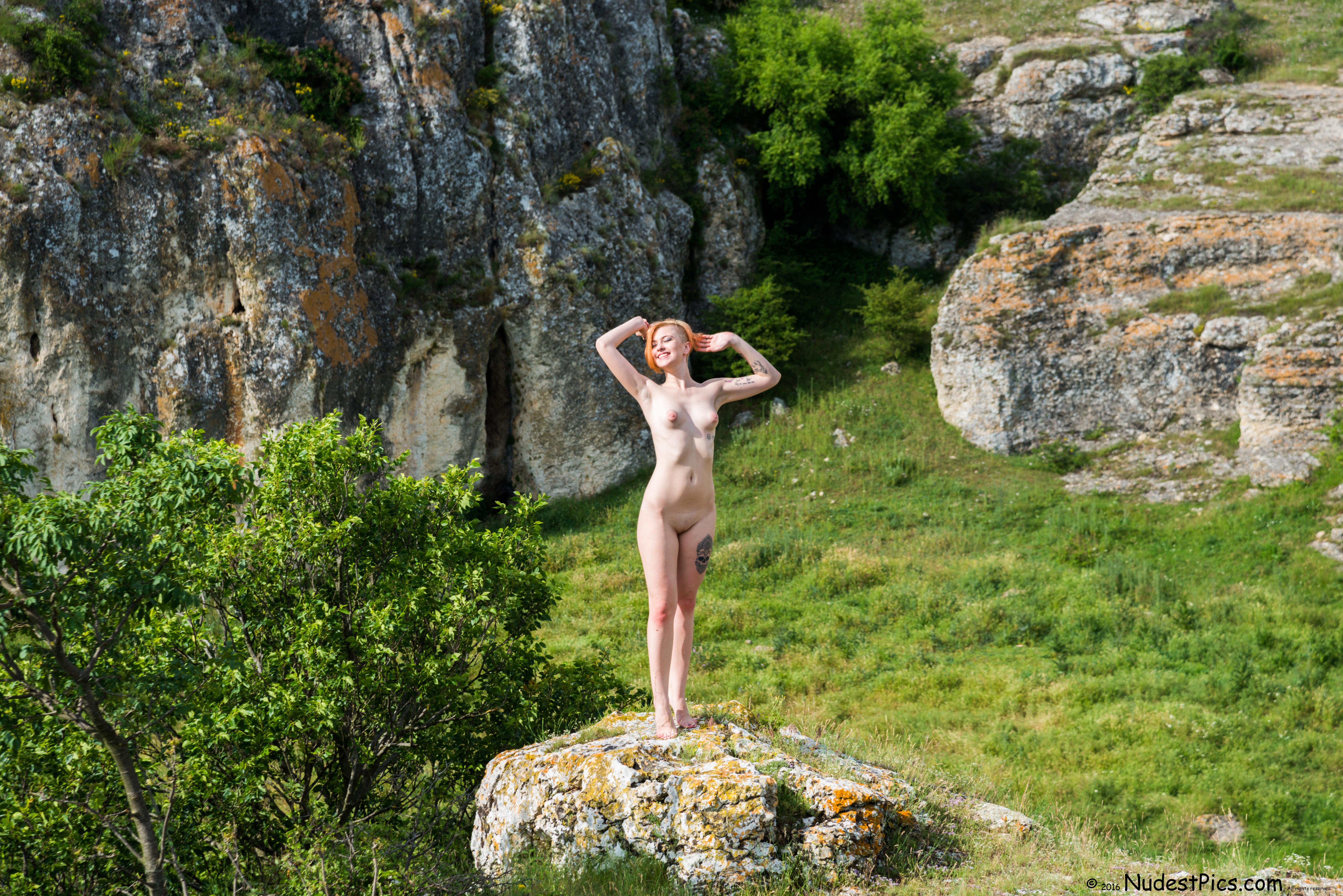Happy Nudist Girl in Nature HD