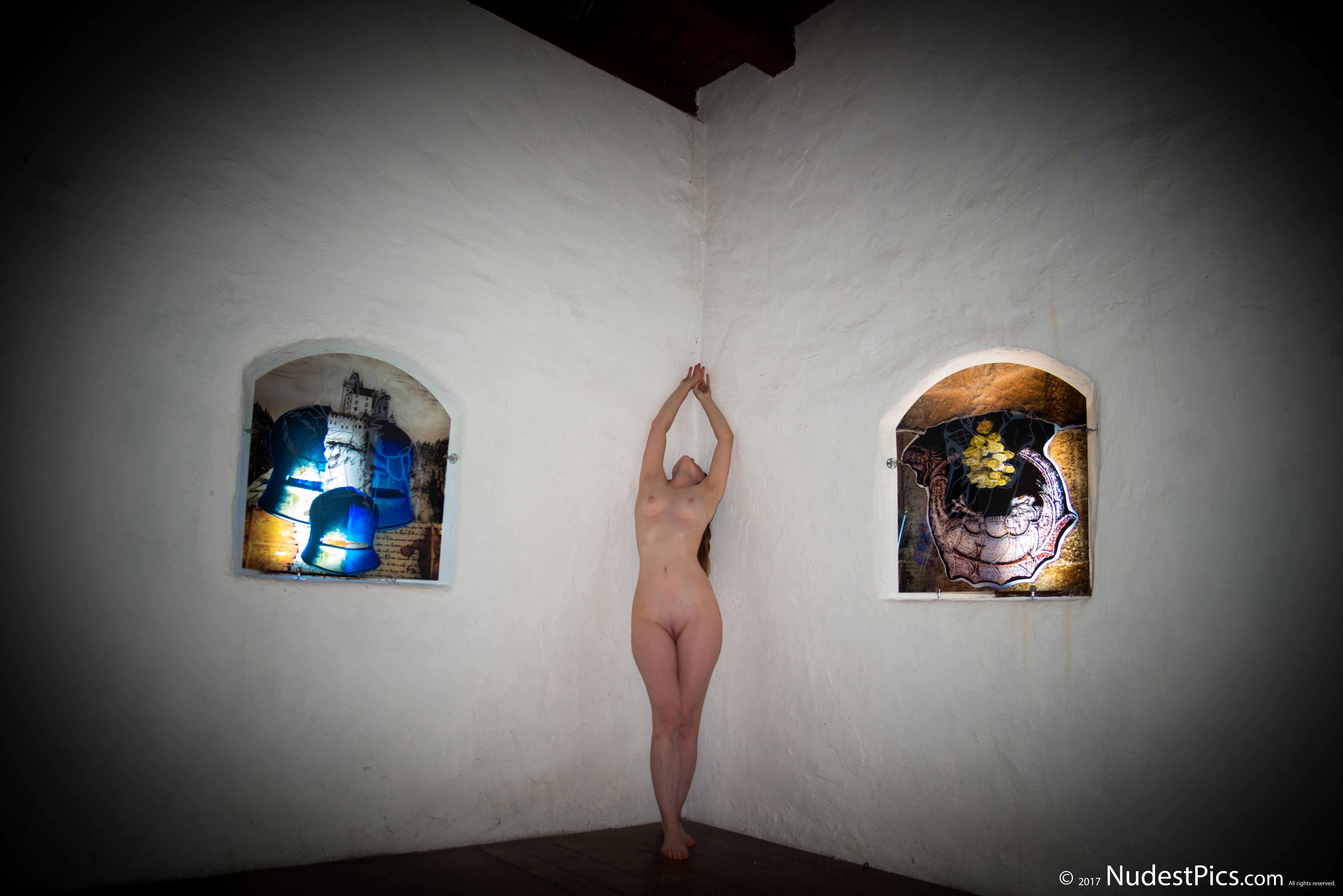 Artist Girl Posing Nude in the Art Museum HD
