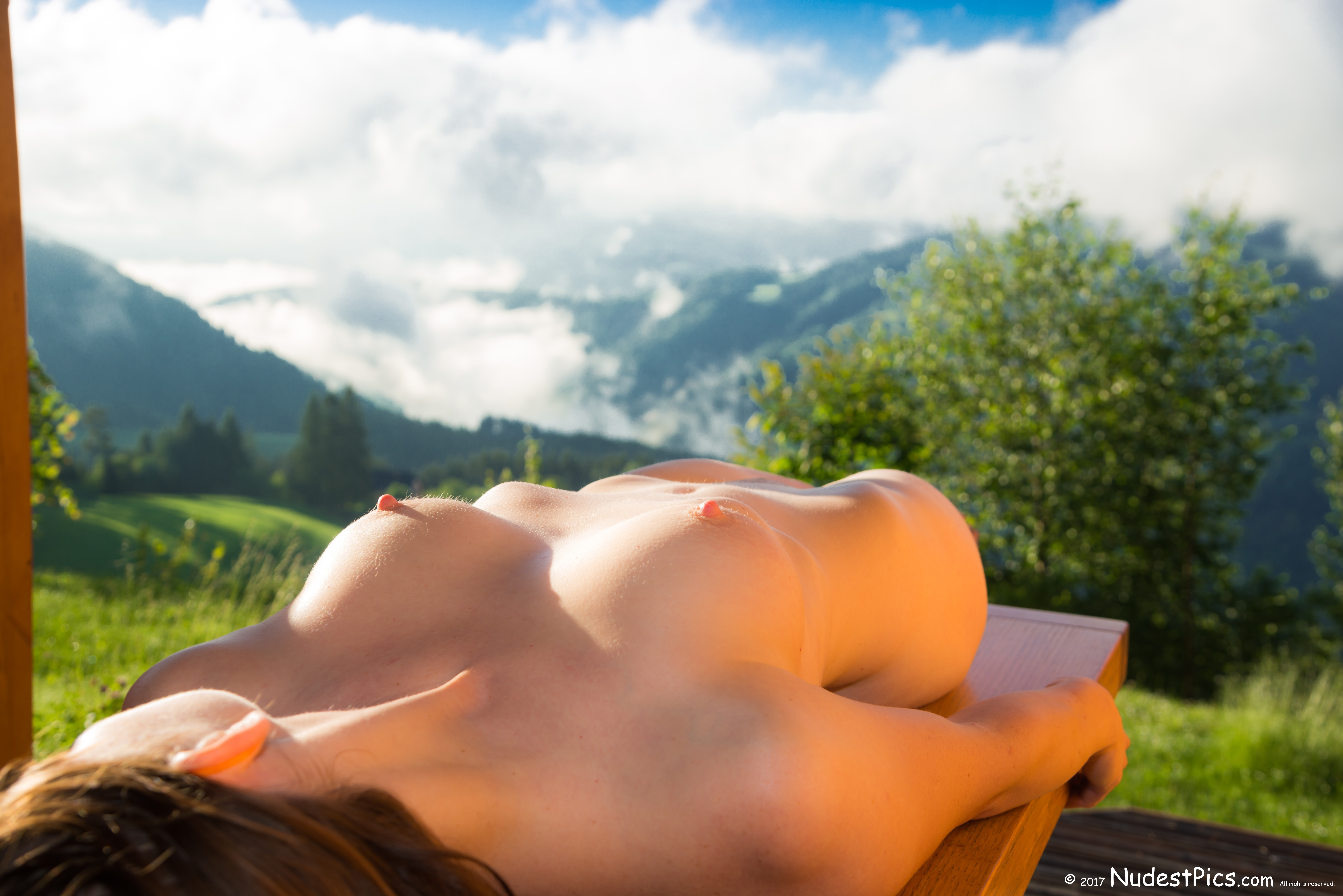 The Golden Nude Girl Sunbathing in Slovenian Mountains HD