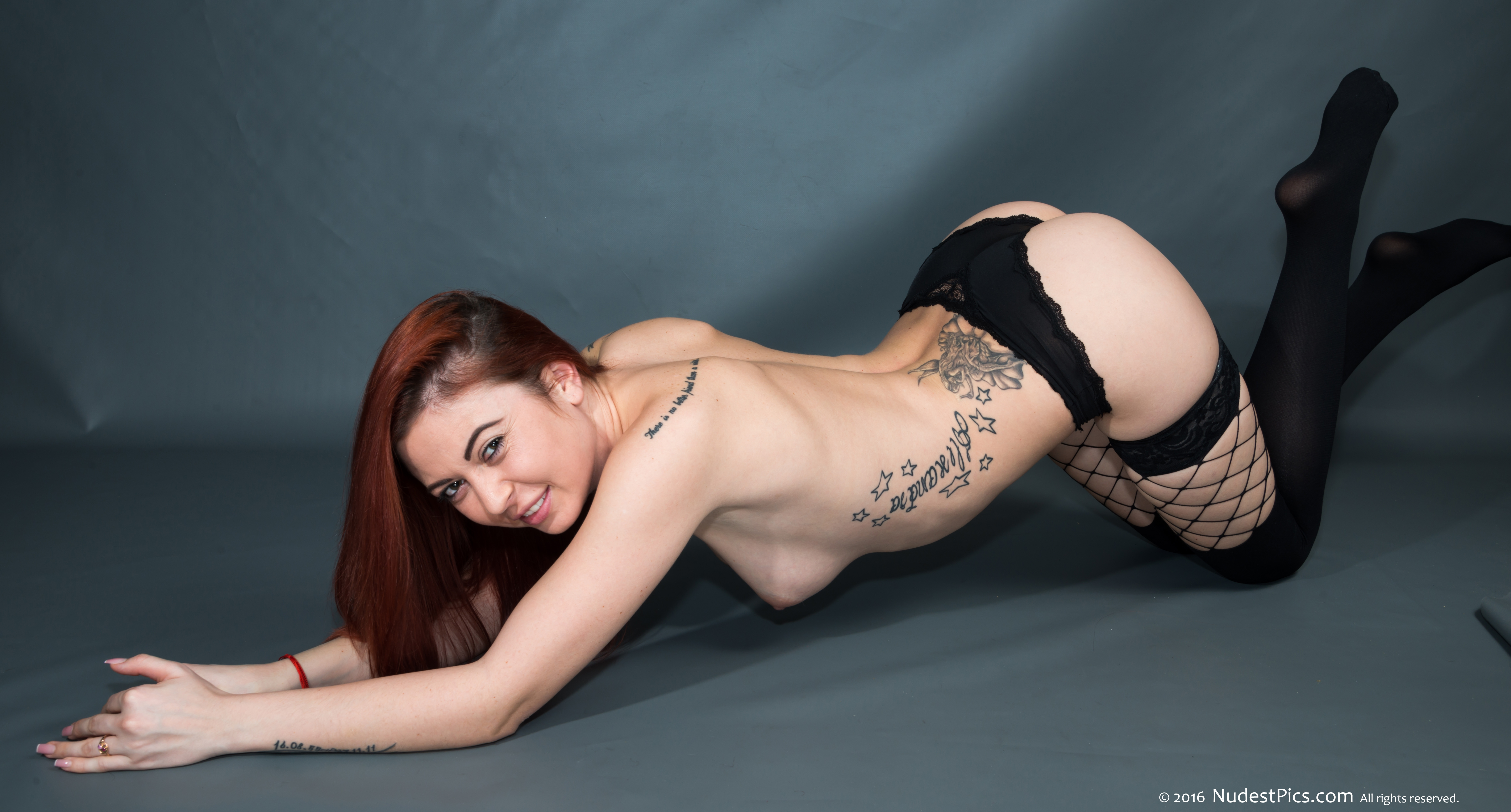 Tattooed Babe Topless Sexy Lingerie Crawling