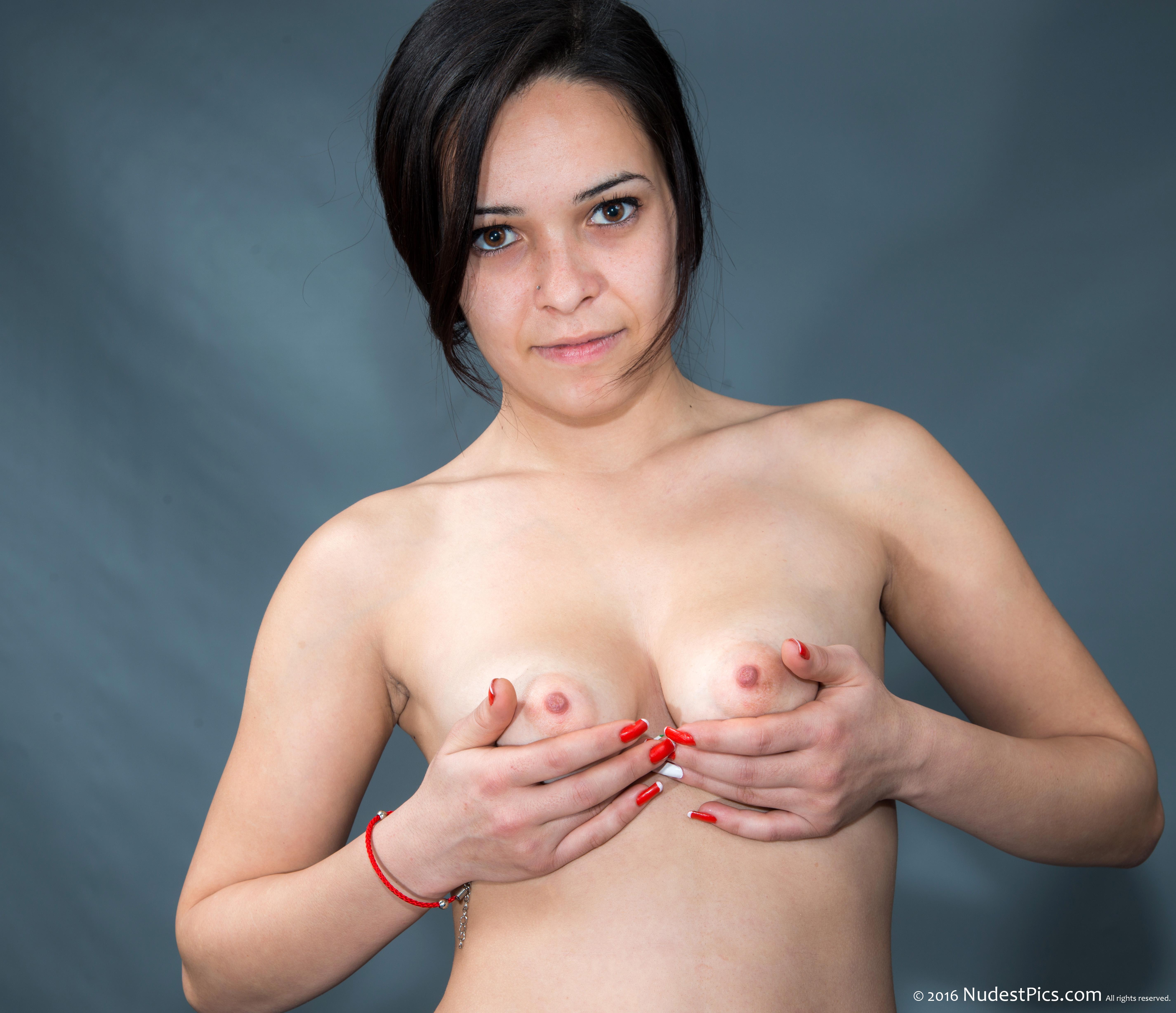 Romanian Teen Girl Holding Small Tits