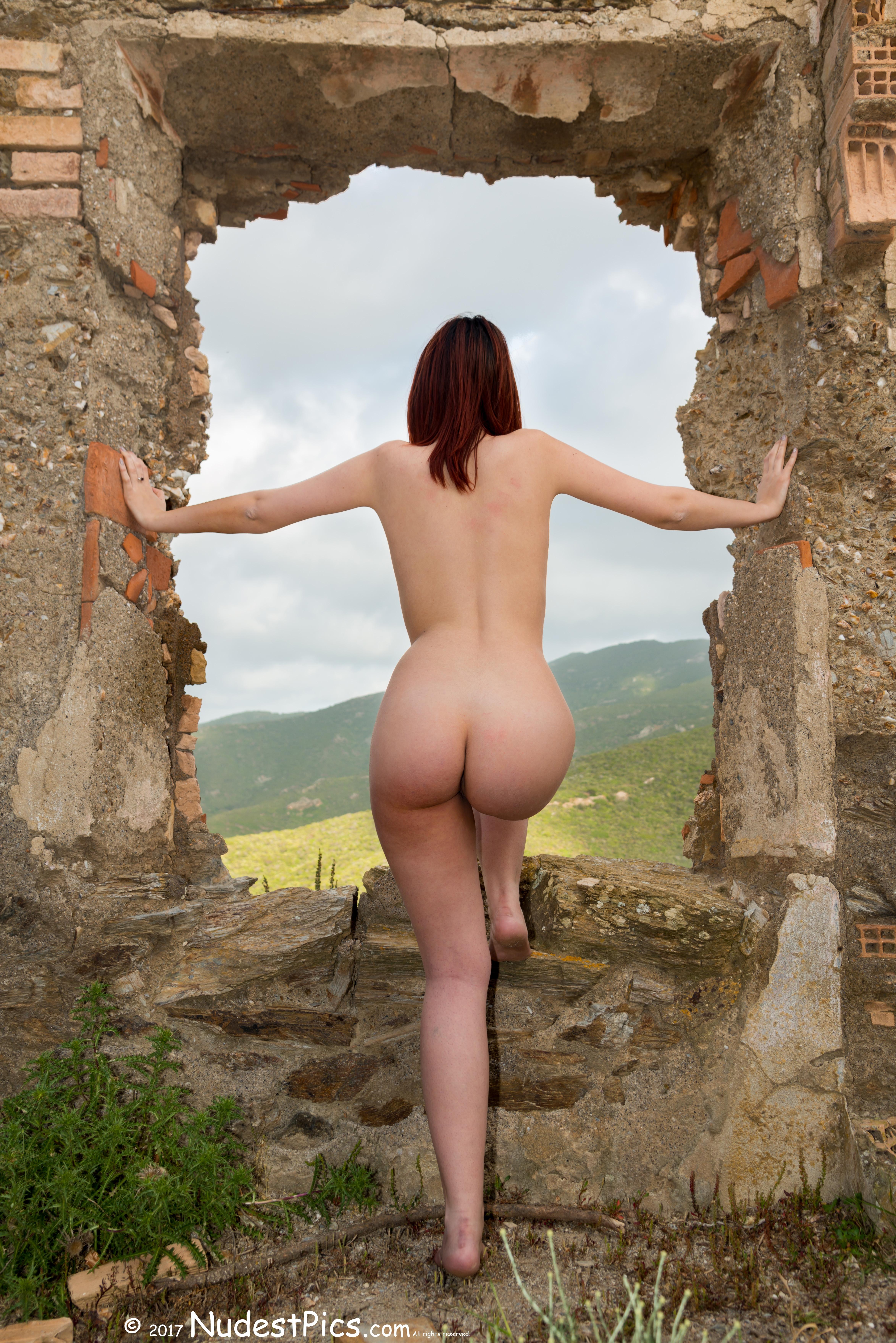 Nude Girl Watching Nature through Ruined Window HD