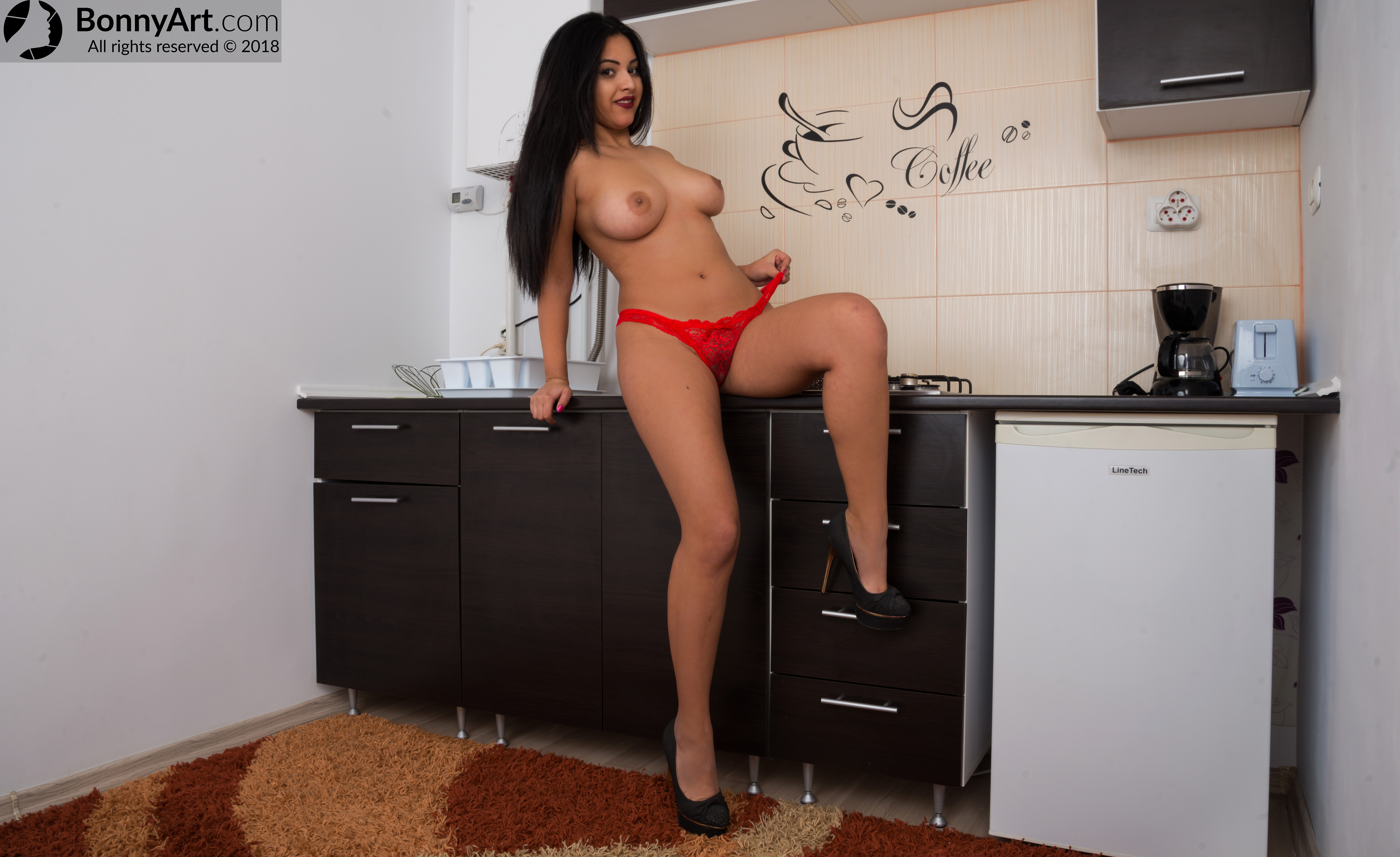 Latina Teen Girl Topless in the Kitchen