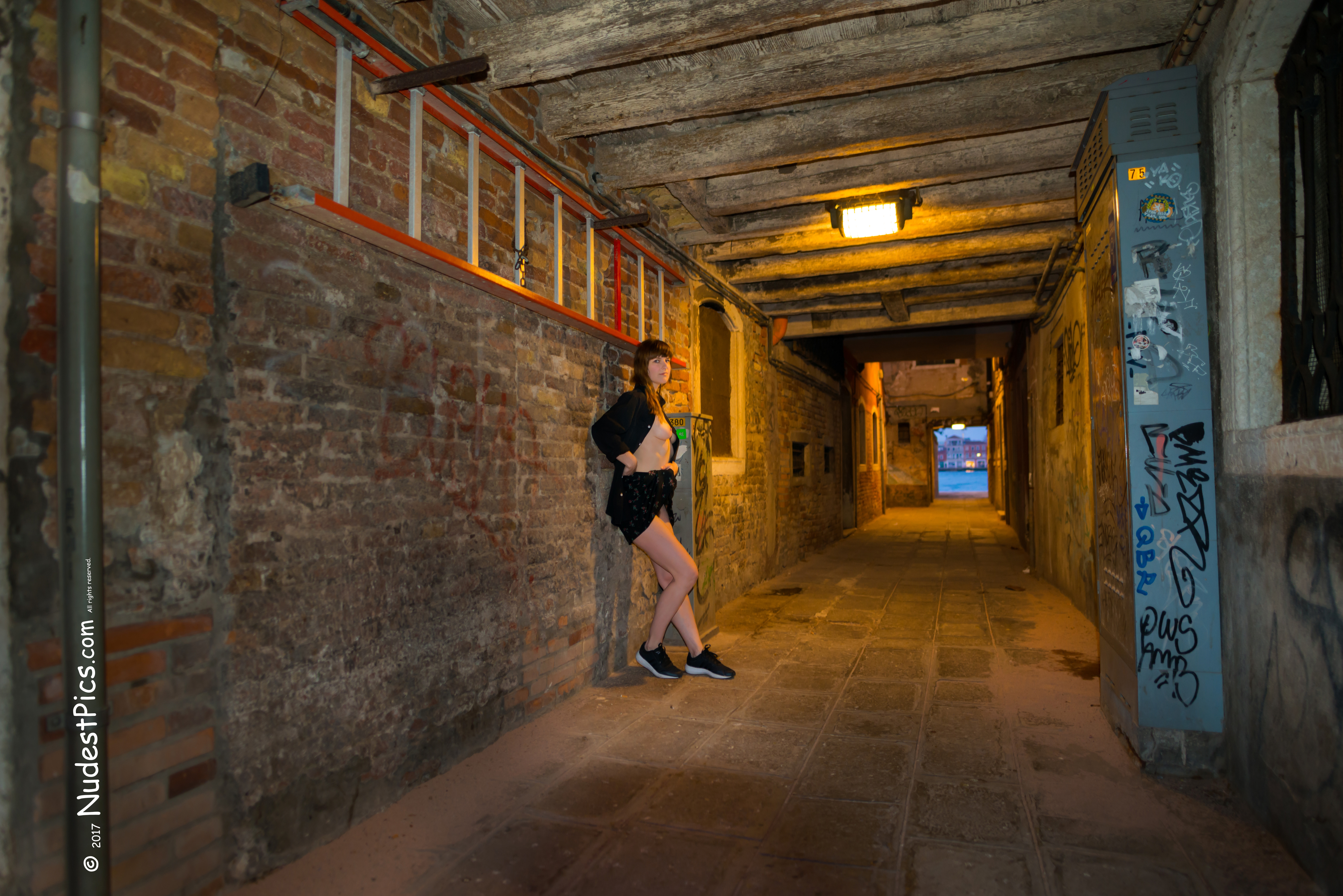 Tourist Girl Flashing Breasts in Venice