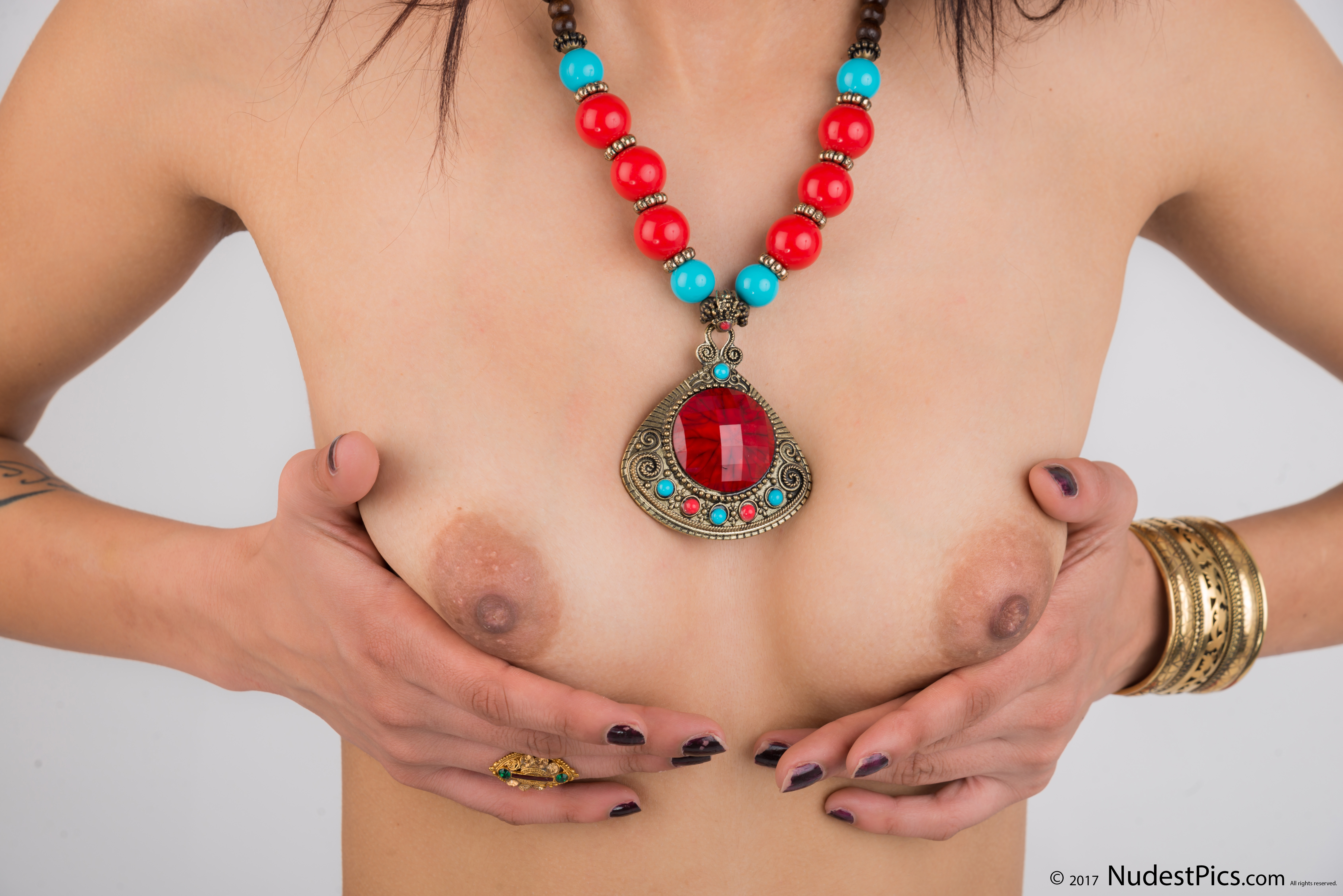 Holding White Indian Small Breasts
