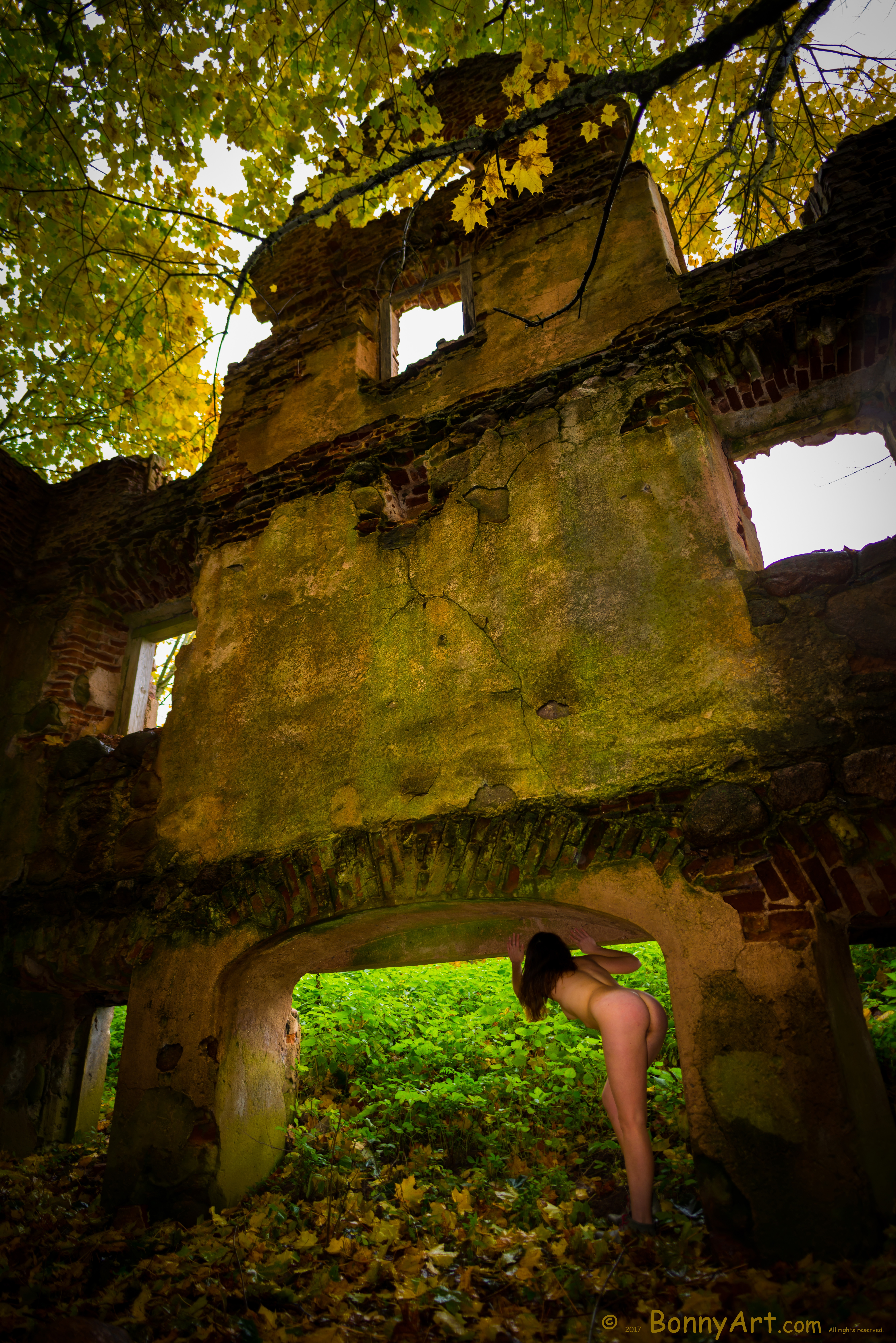 Naked Woman Bending Over at the Ruins