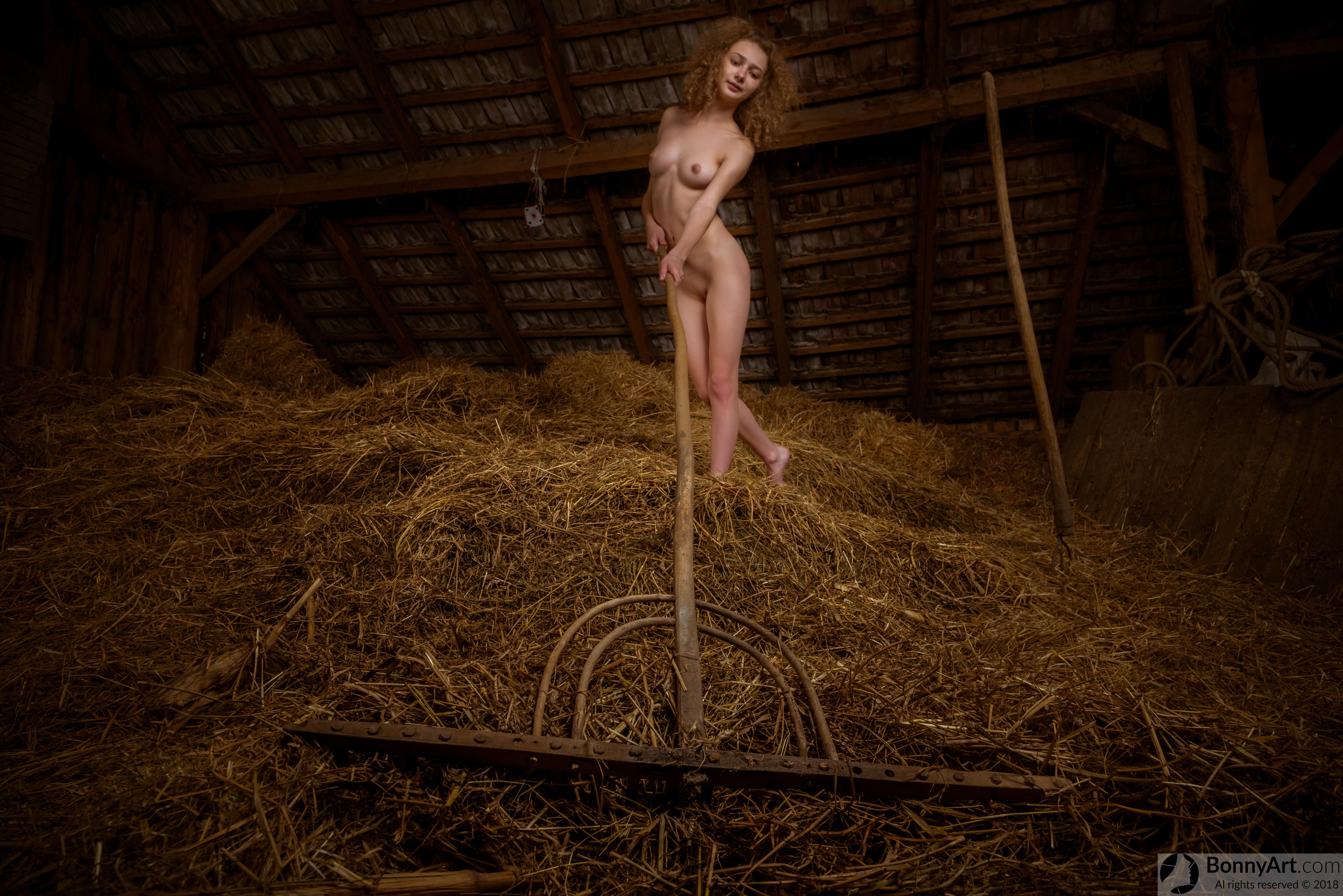 Nude Teen Girl Raking the Hay in the Barn HD