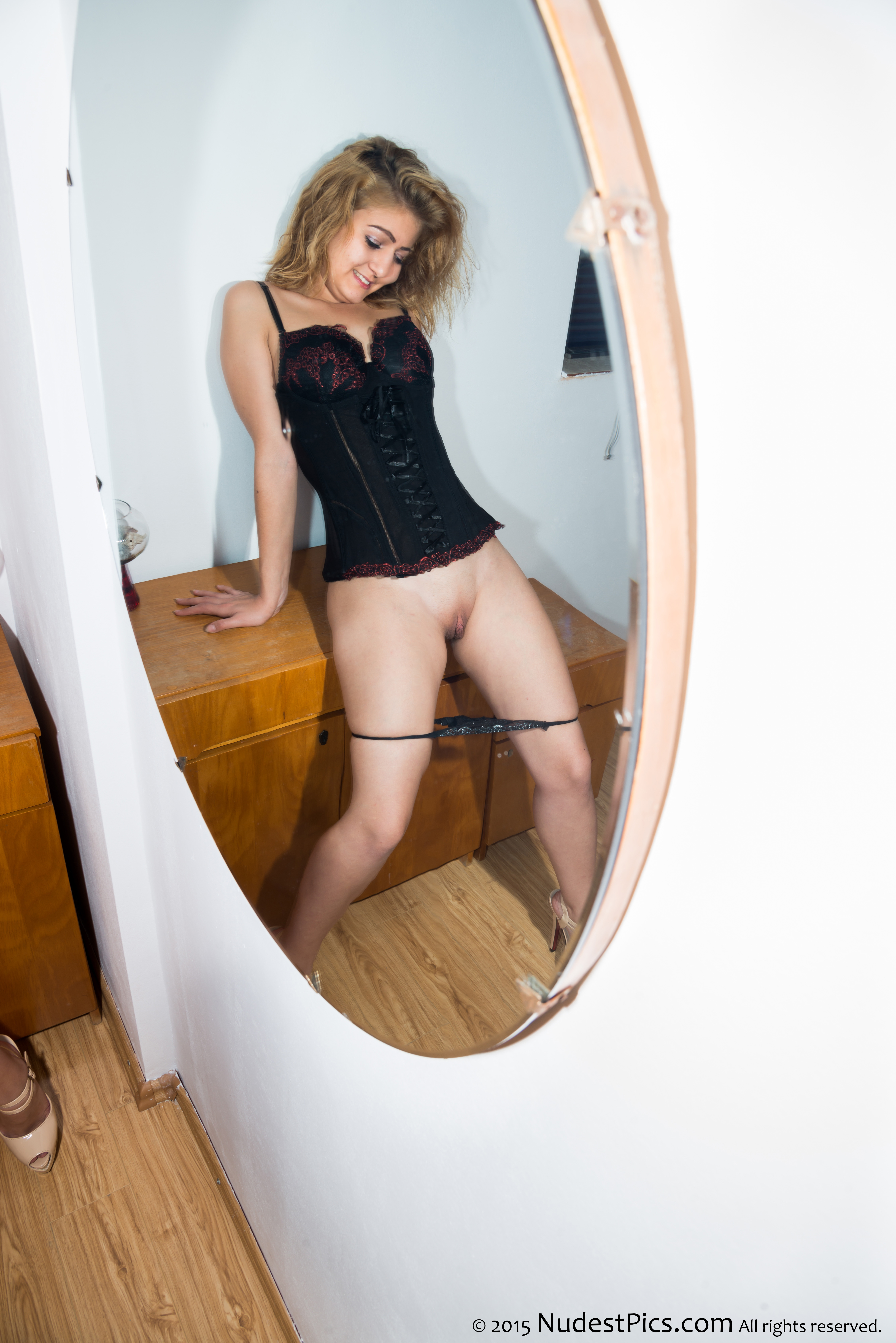Silly Teen Girl Watching her Pussy in the Mirror