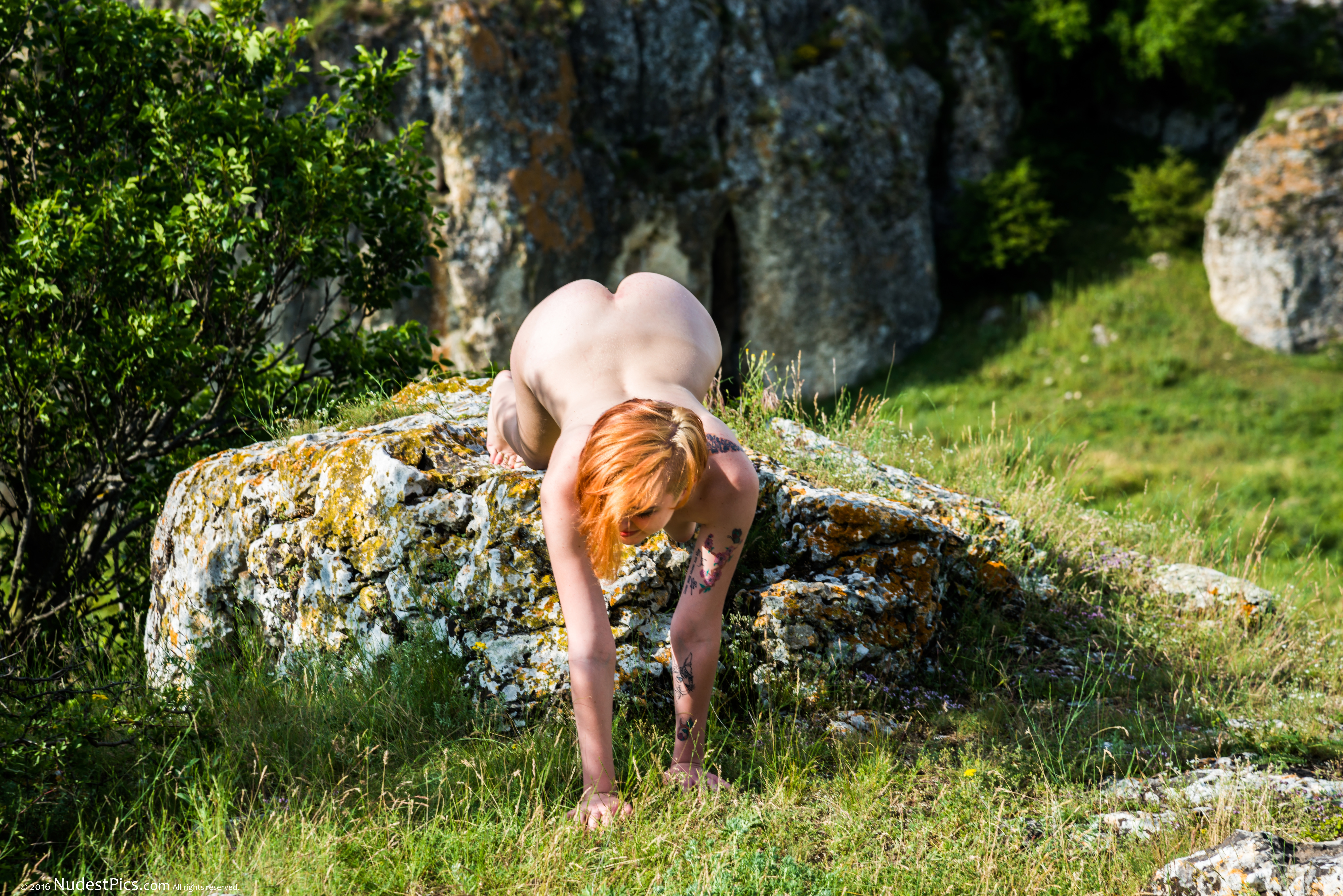 Girl Crawling Naked Over Rock Heart Butt HD