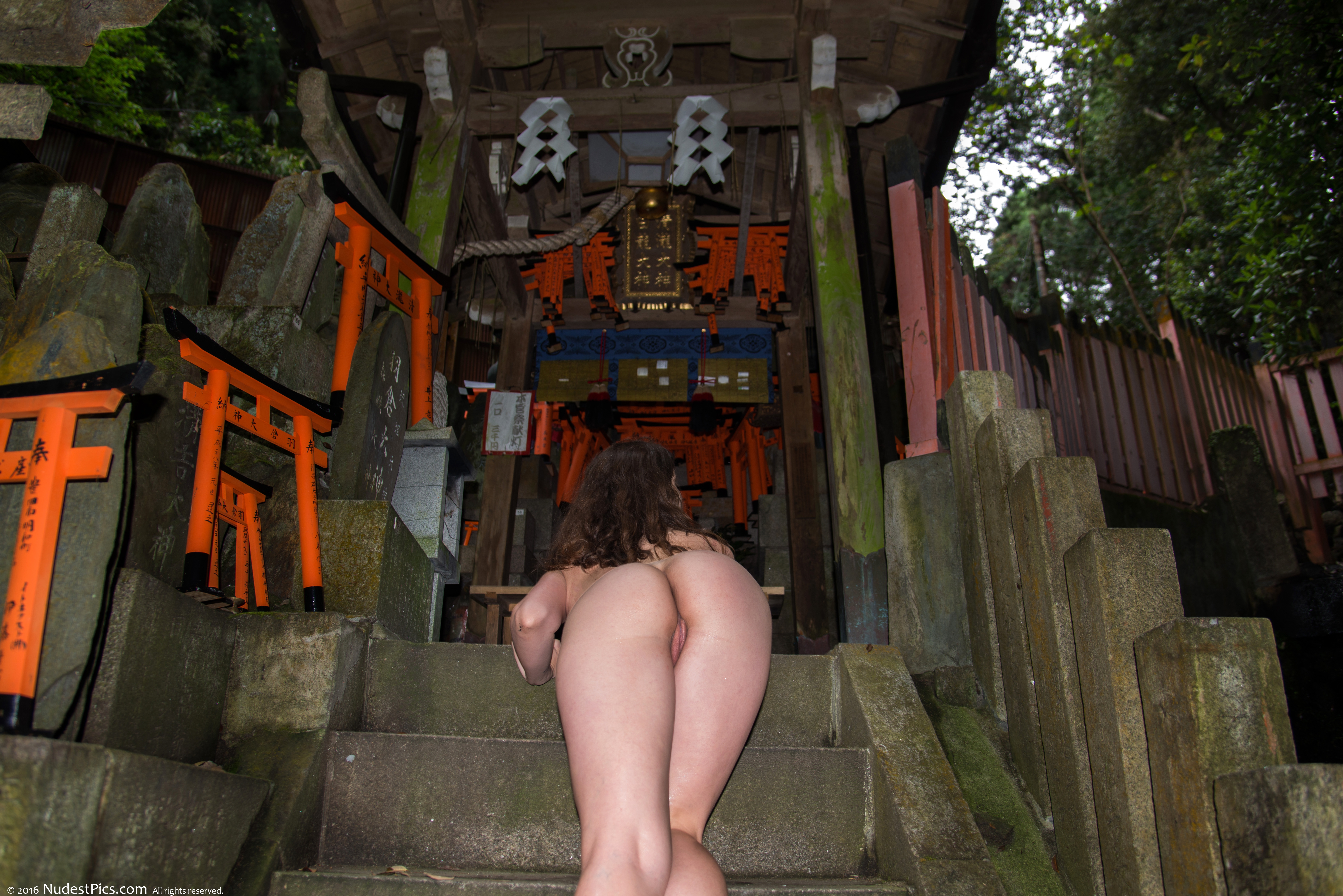 Nude Girl Crawling Up Stairs