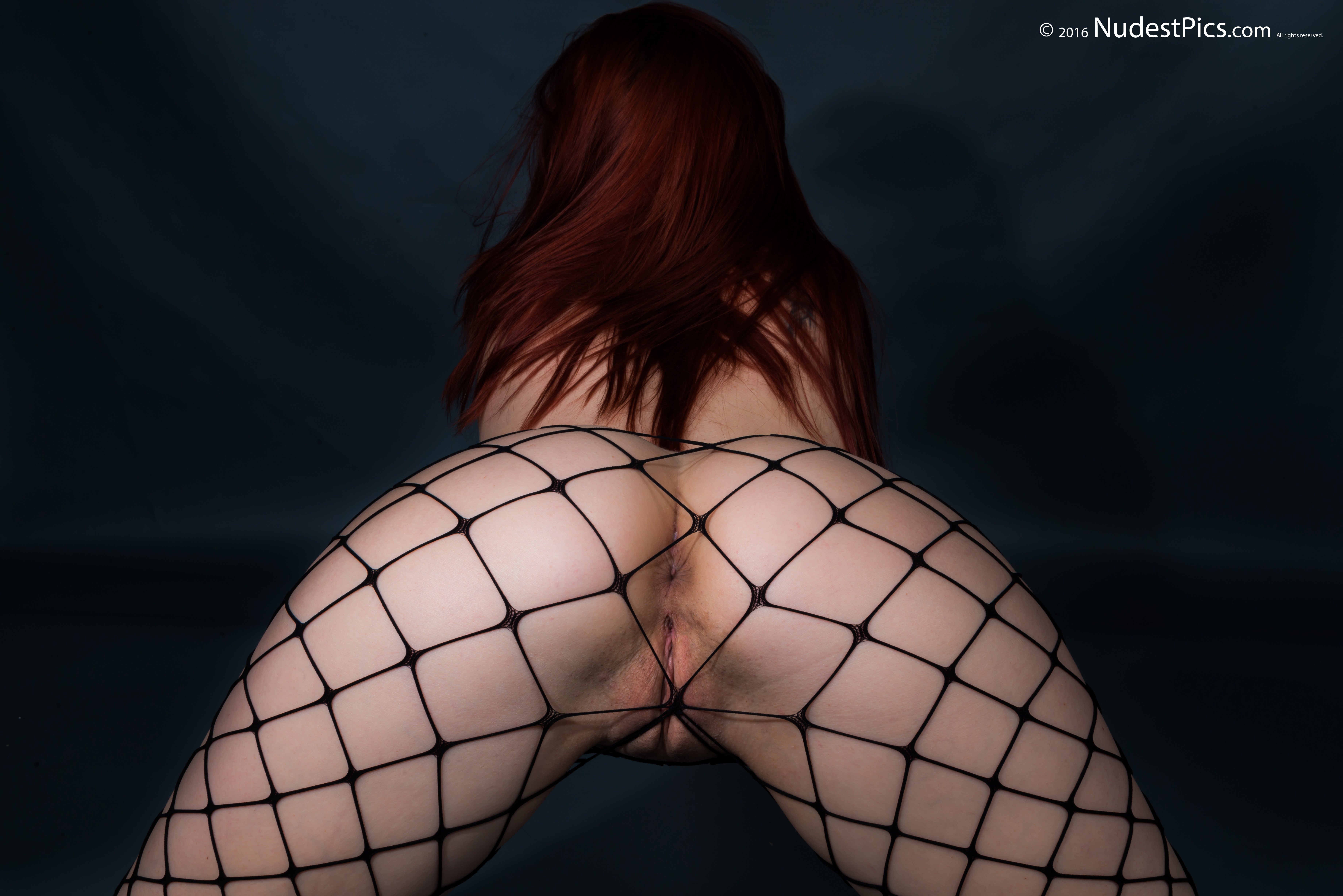 Sexy Ginger's Girl Naked Booty with Fishnets