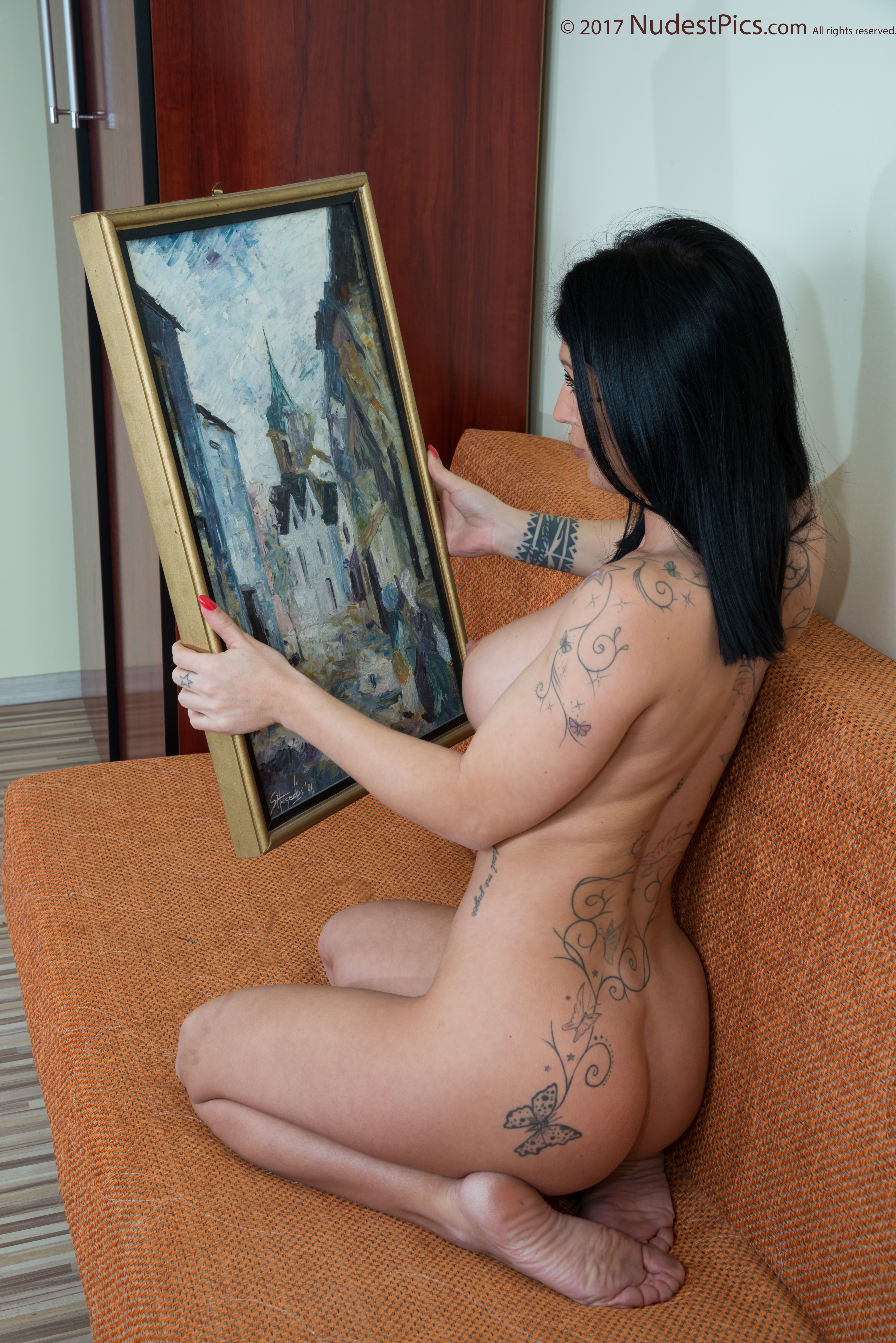 Naked Tattooed Hot Girl Admiring Art painting