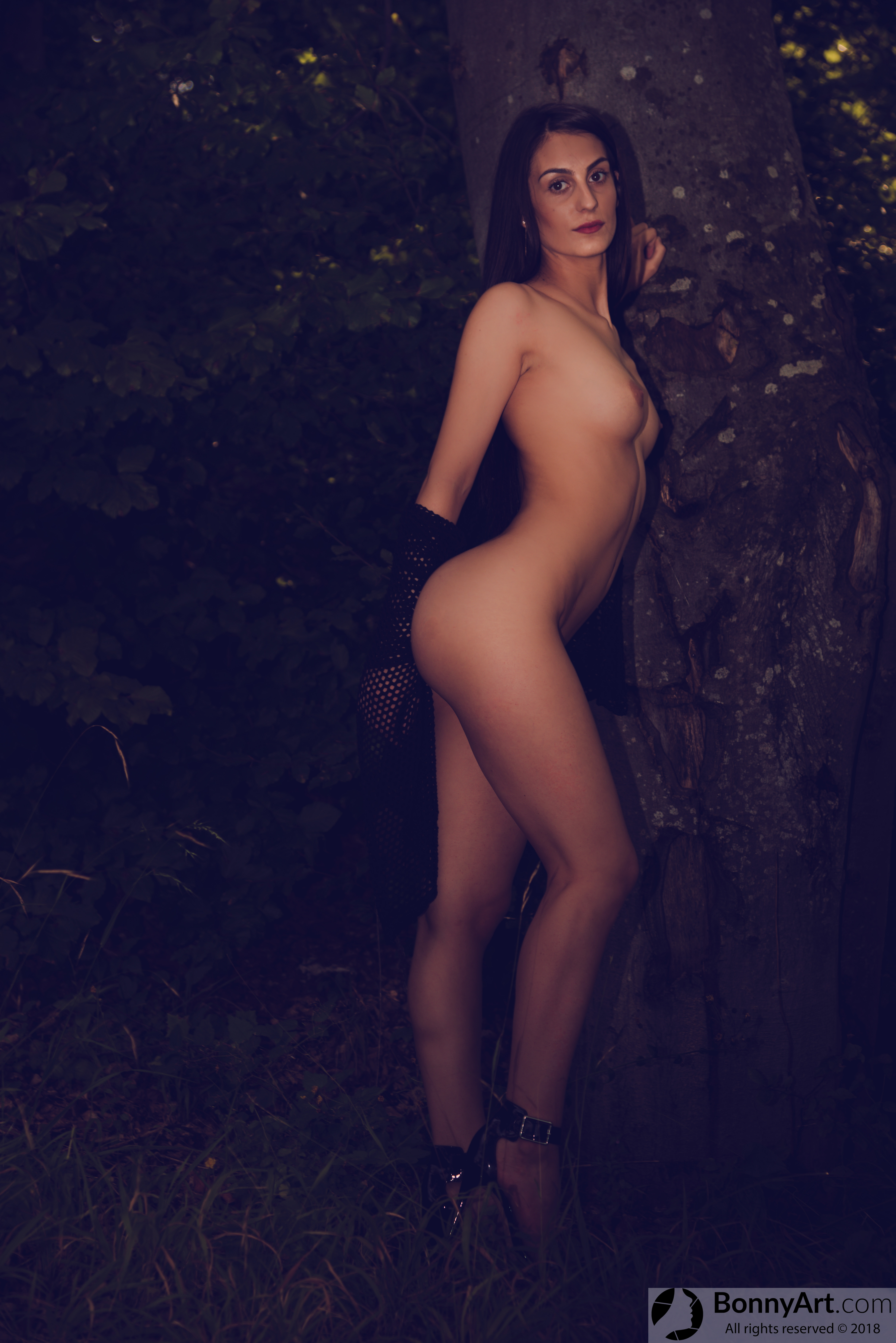 Tall Naked Girl Showing her Curves in the Forest