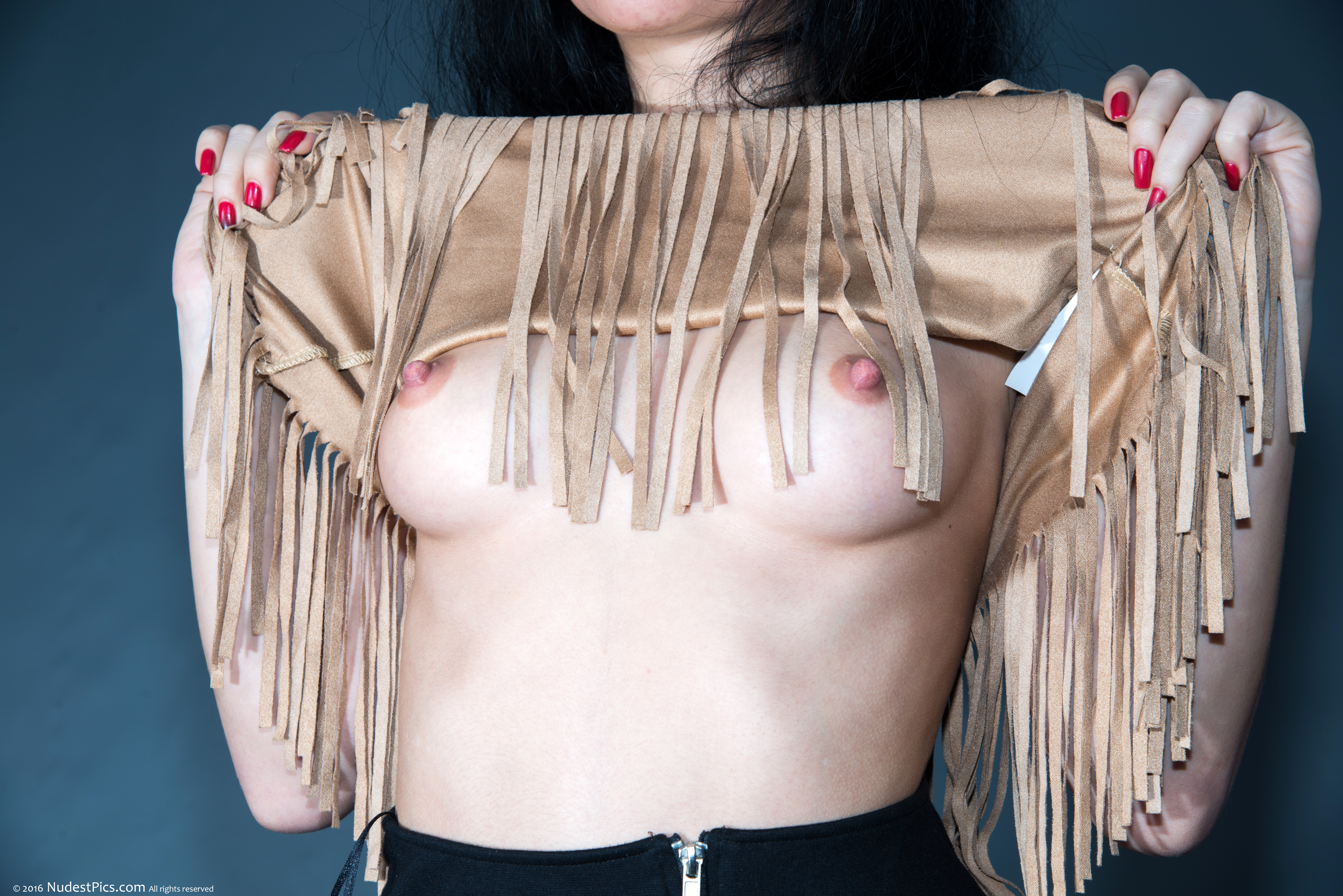 Flashing Pretty Round Small Breasts American Indian Style HD