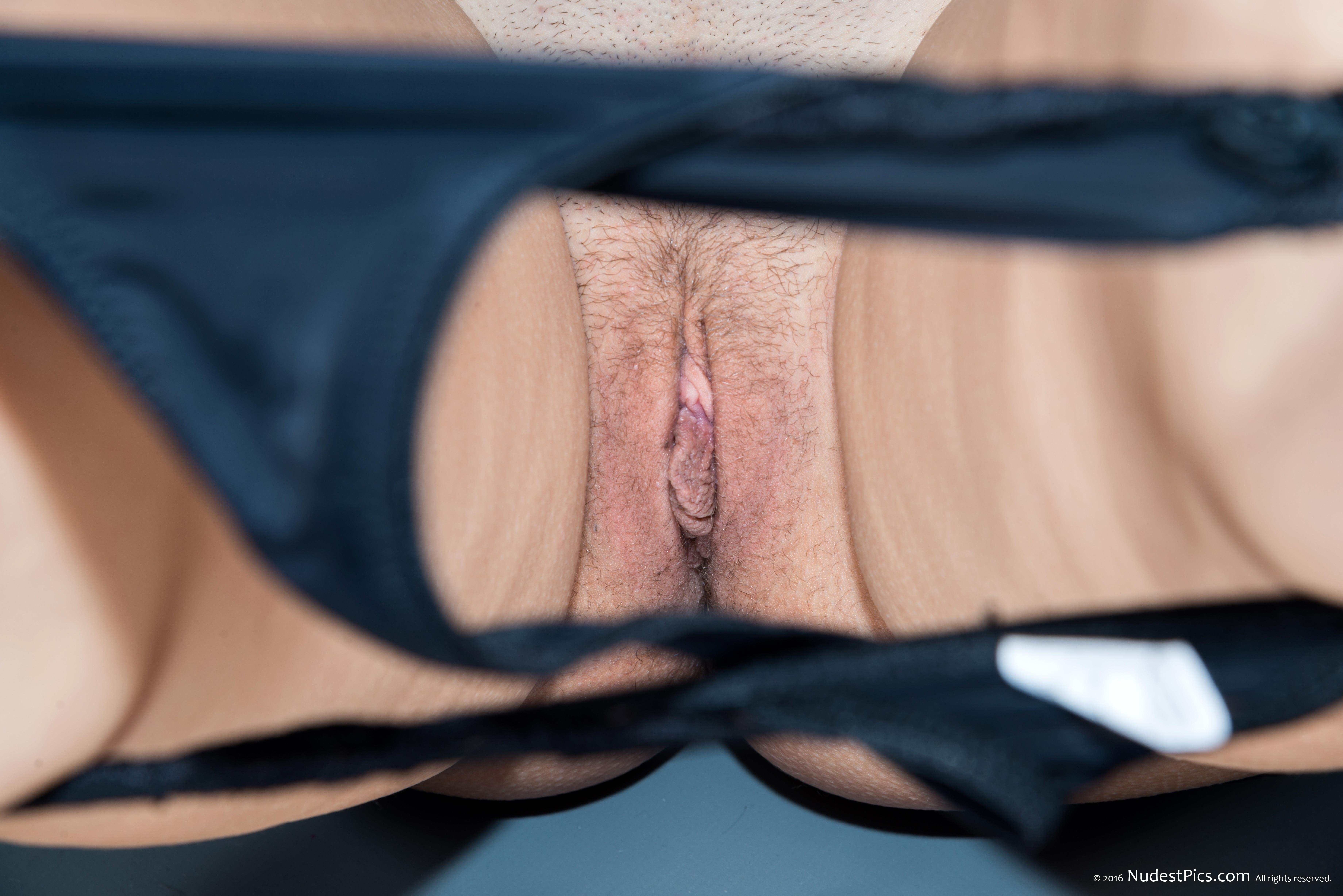Pussy Peek Through Panties on Knees
