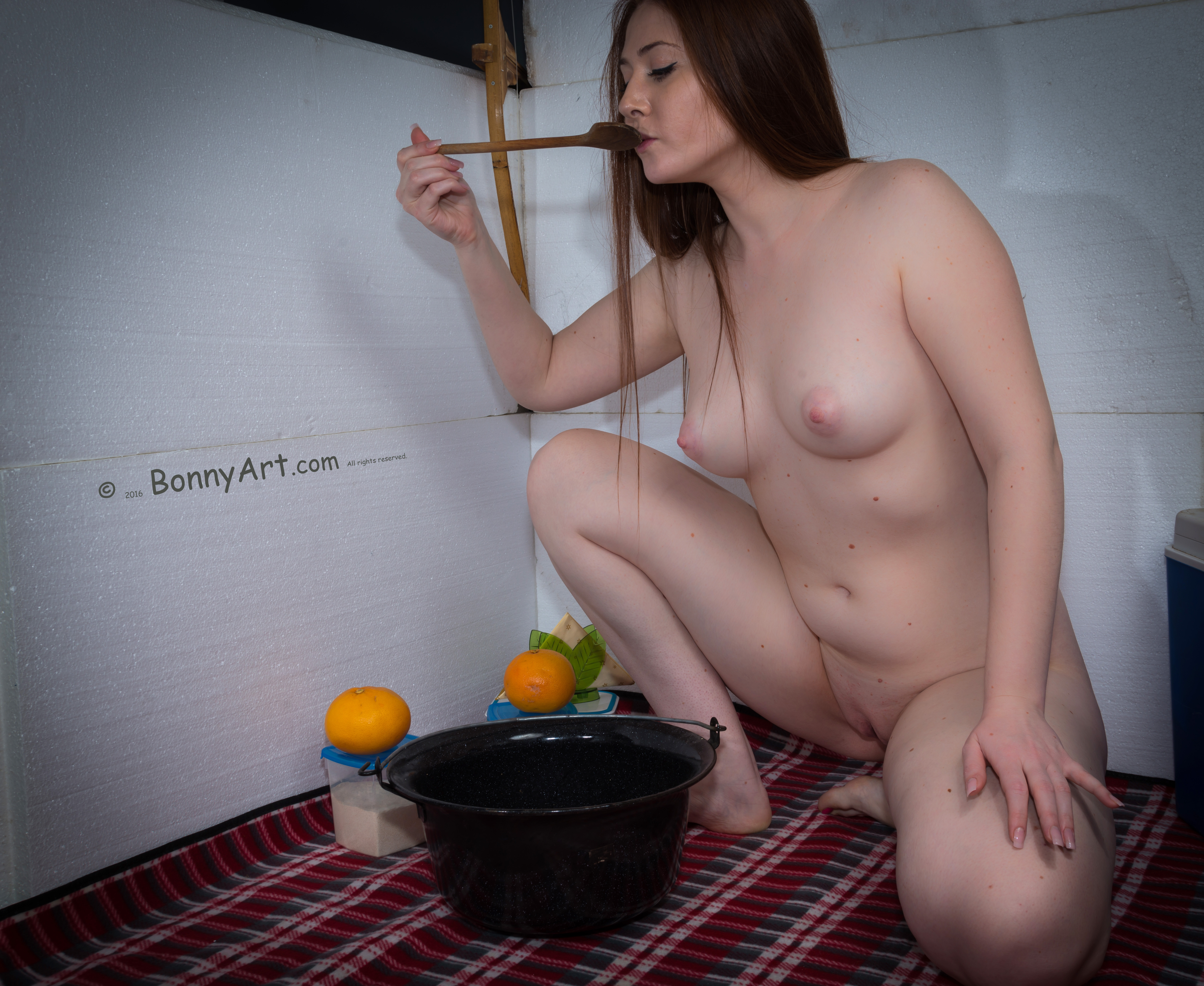 Naked Homeless Woman Tasting her Supper HD